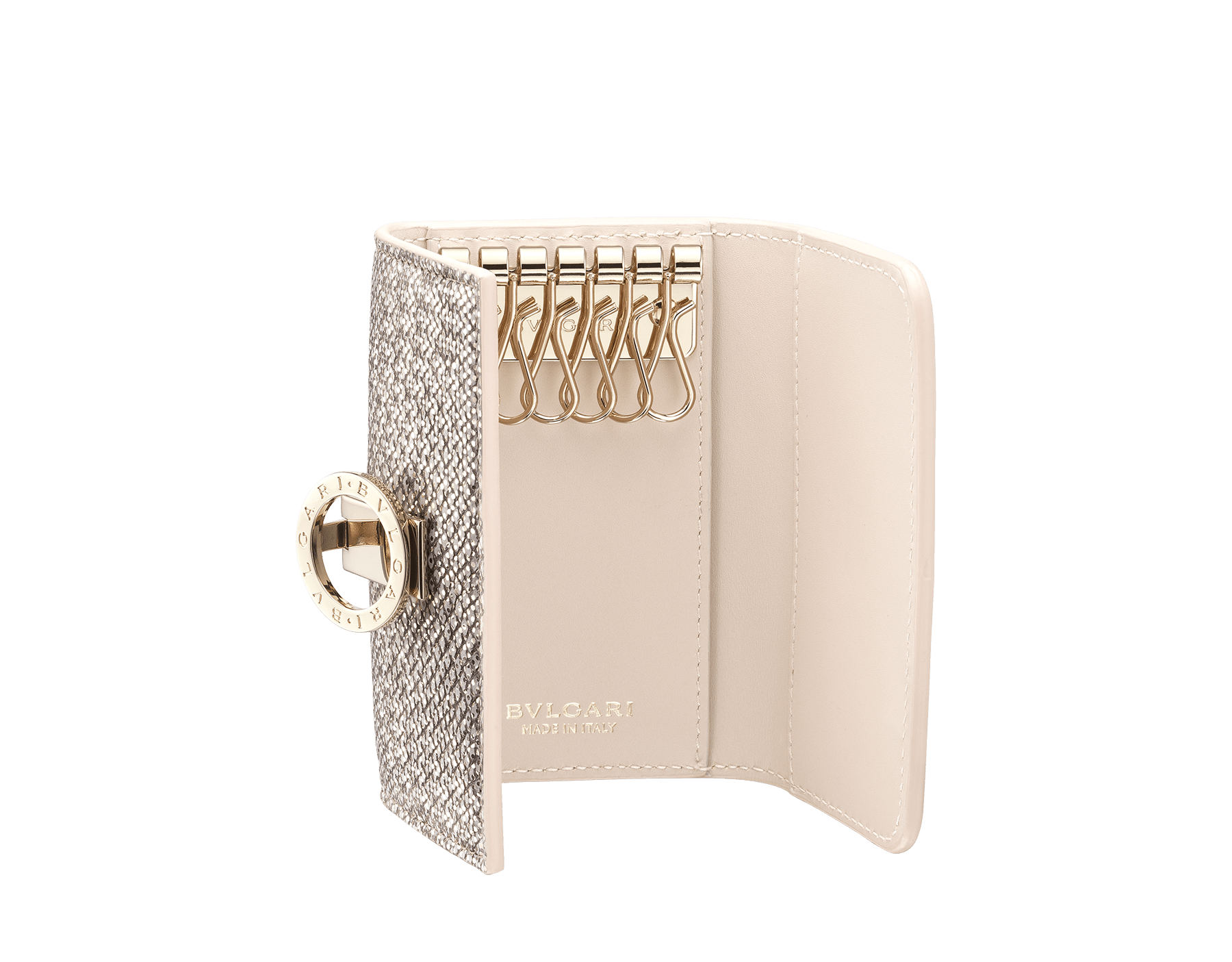 Small keyholder in emerald green shiny karung skin, emerald green calf leather and amethyst purple nappa lining. Iconic brass light gold plated clip featuring the BVLGARI BVLGARI motif. 579-KEYHOLDER-S-MK image 2