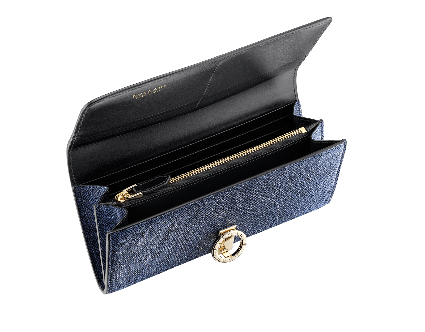 """BVLGARI BVLGARI"" large wallet in metallic Midnight Sapphire blue karung skin and black calfskin. Iconiclogo clip closure in light gold plated brass. 579-WLT-SLI-POC-CL-MK image 2"