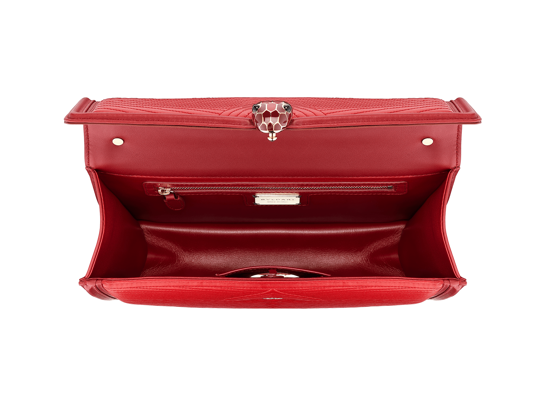 """Serpenti Diamond Blast"" shoulder bag in carmine jasper quilted nappa leather body and ruby red calf leather frames. Iconic snakehead closure in light gold plated brass enriched with carmine jasper and ruby red enamel and black onyx eyes 287194 image 2"