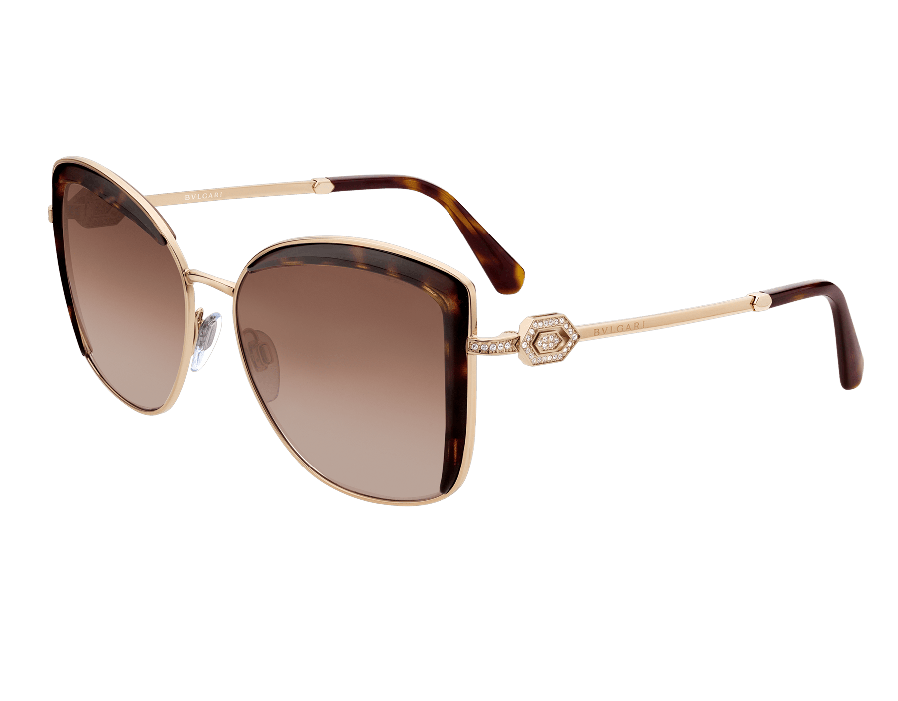 Bulgari Serpenti squared metal sunglasses with Serpenti openwork metal décor with crystals. 903904 image 1