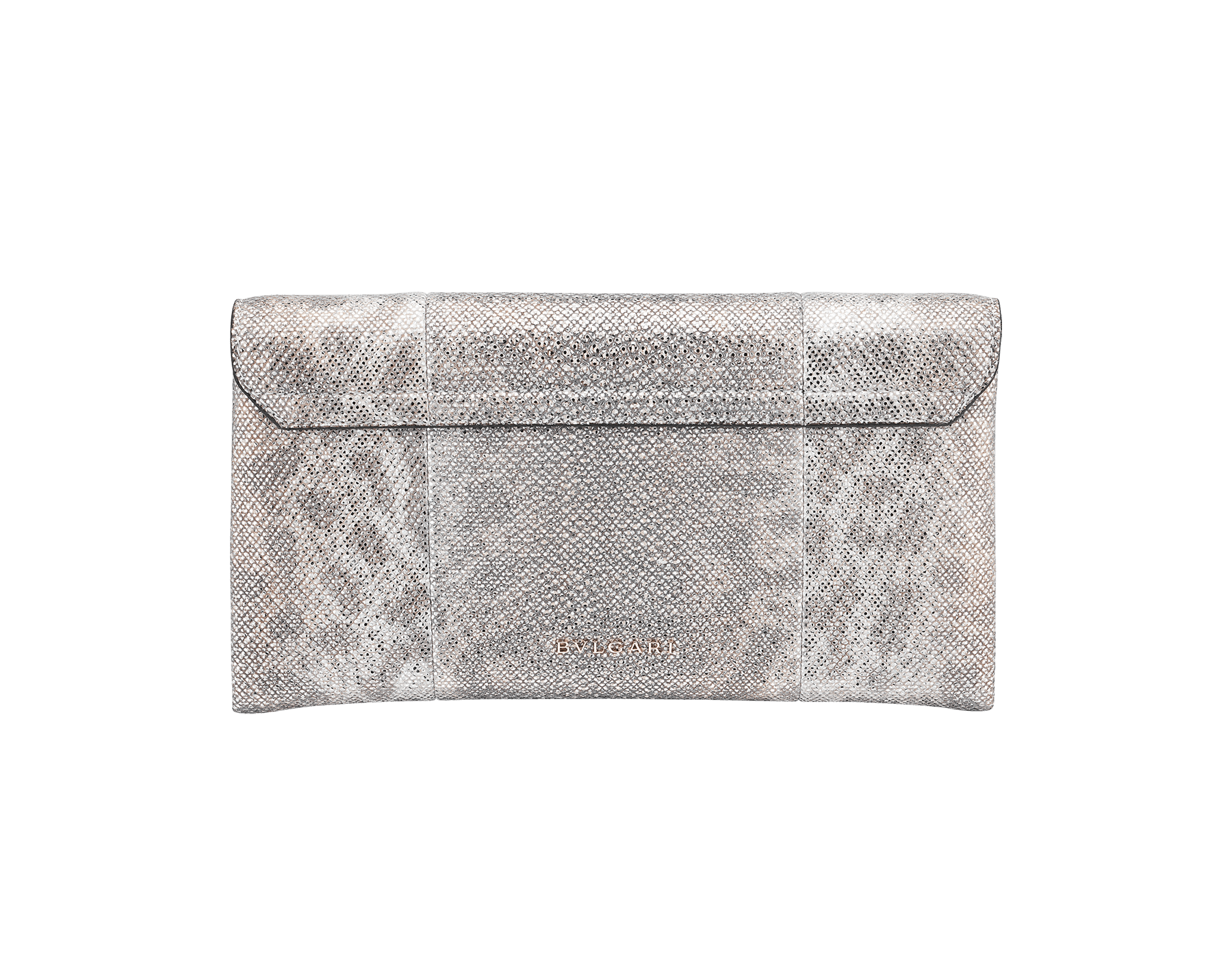 """Serpenti"" evening clutch bag in white agate metallic karung skin. Iconic snakehead stud closure with tassel in light gold plated brass enriched with shiny black and white agate enamel and black onyx eyes. 289004 image 3"