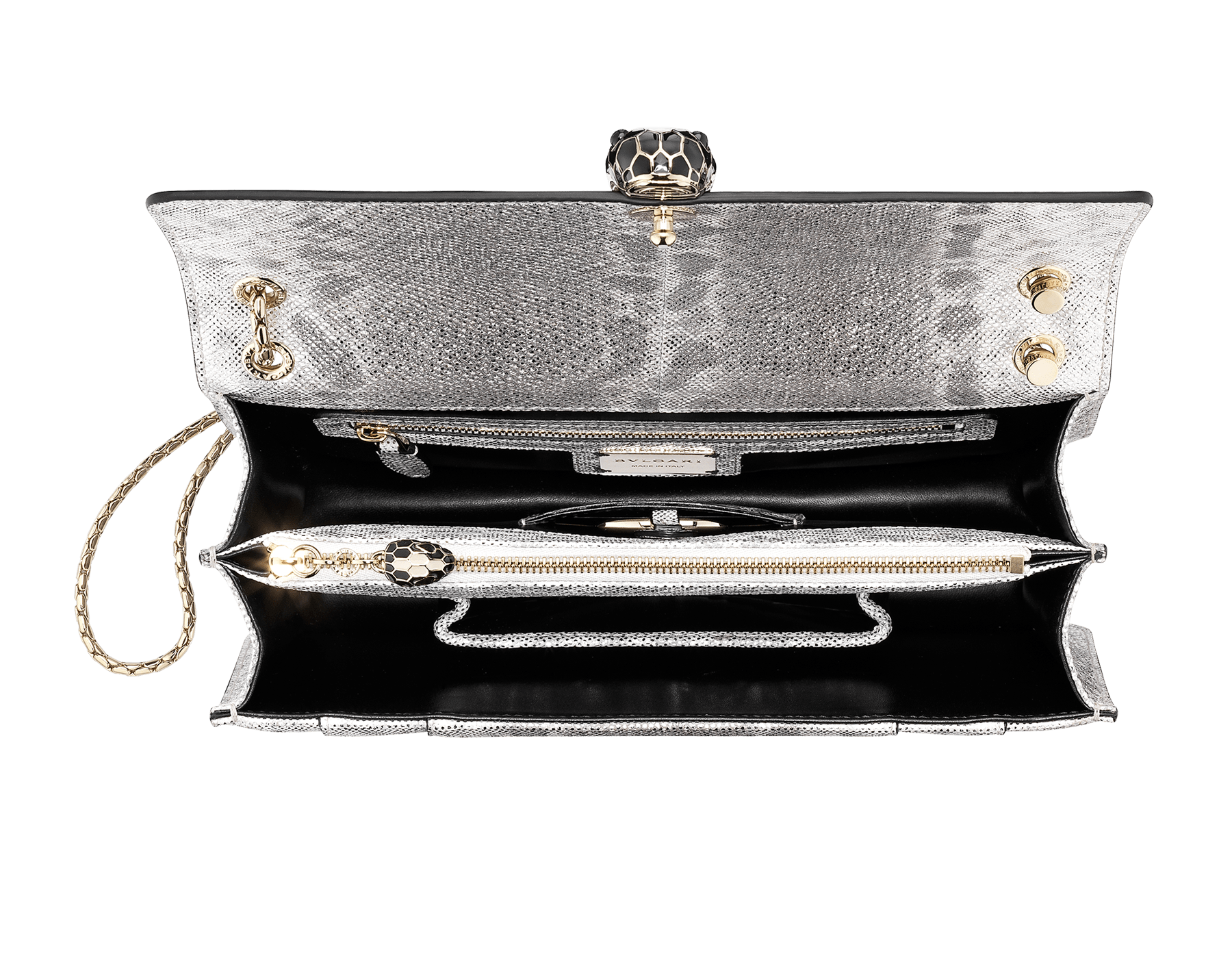 """Serpenti Forever"" shoulder bag in white agate metallic karung skin. Iconic snakehead closure in light gold plated brass enriched with black and white agate enamel and black onyx eyes. 288797 image 4"