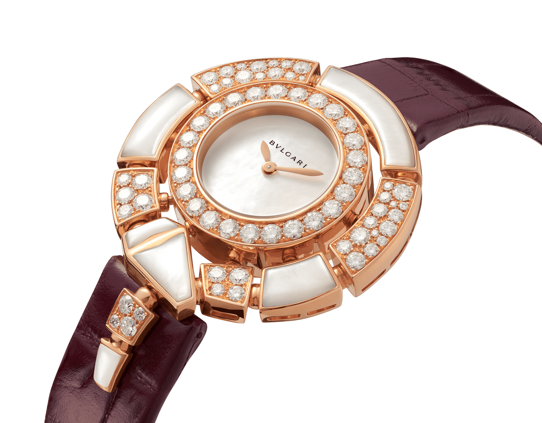 Serpenti Incantati watch with 18 kt rose gold case set with brilliant-cut diamonds and mother-of-pearl elements, mother-of-pearl dial and purple alligator bracelet 102872 image 2