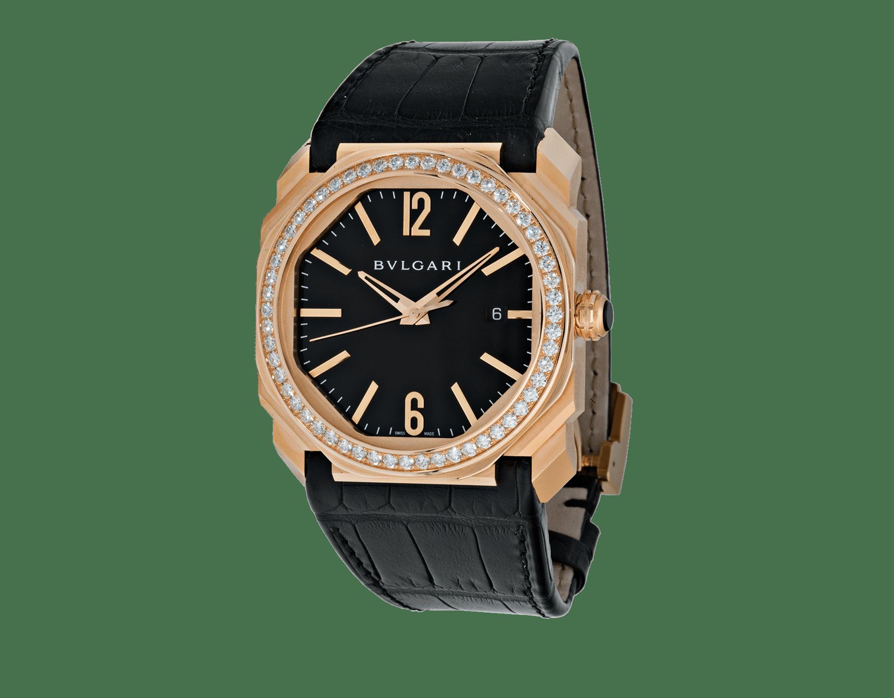 Relógio Octo com movimento de manufatura mecânico, corda automática e data, caixa em ouro rosa 18K, bezel cravejado com diamantes lapidação brilhante, mostrador preto laqueado e pulseira em couro de jacaré preto. 102039 image 1