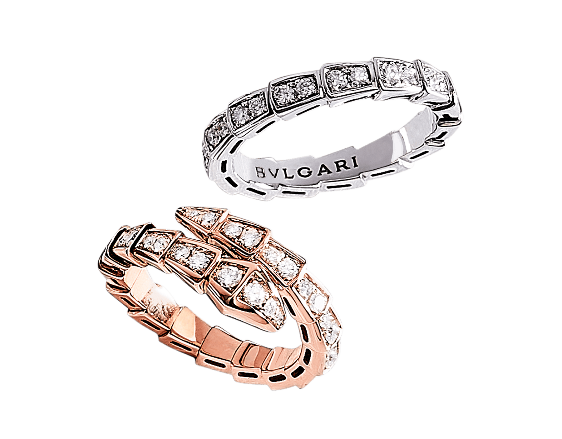 Serpenti couples' rings in 18 kt rose and white gold, both set with pavé diamonds. A captivating ring set fusing mesmerising design with the snake's irresistible power of seduction. Serpenti-Viper-Couples-Rings image 1