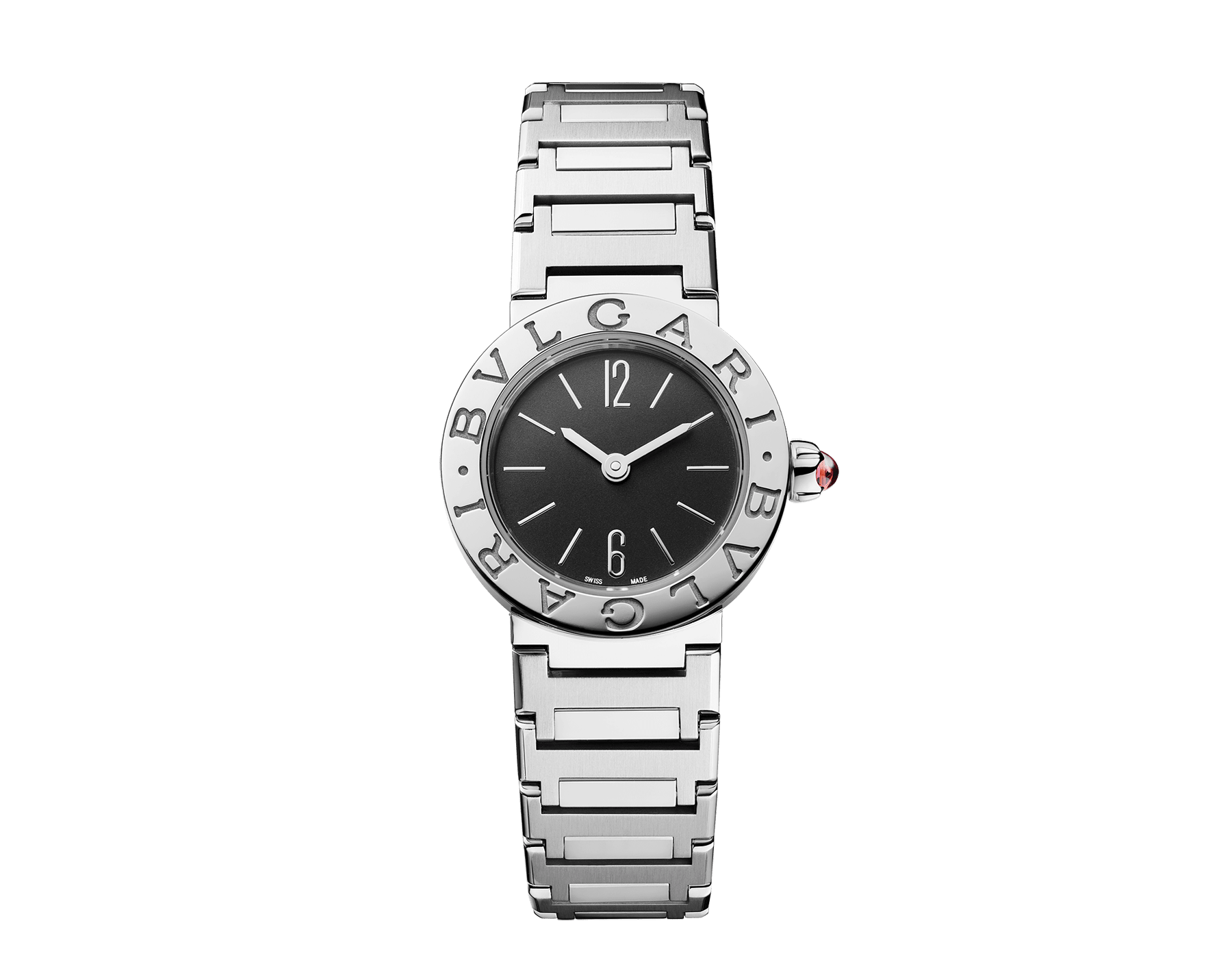 BVLGARI BVLGARI LADY watch in stainless steel case and bracelet, stainless steel bezel engraved with double logo and black lacquered dial 102943 image 1