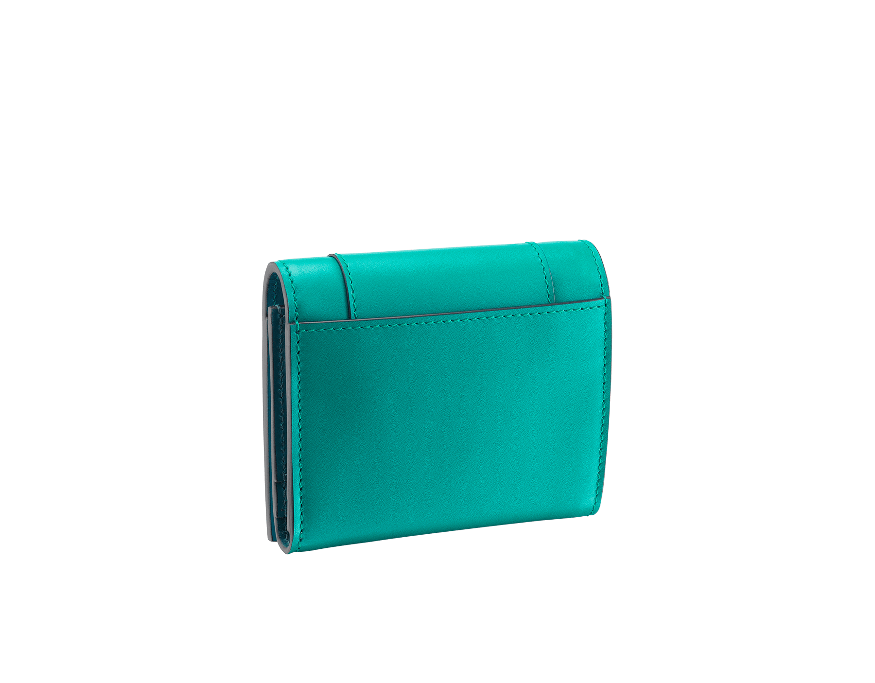 Serpenti Forever super compact wallet in tropical tourquoise and deep jade calf leather. Iconic snakehead stud closure in black and white enamel, with green malachite enamel eyes. 288038 image 3