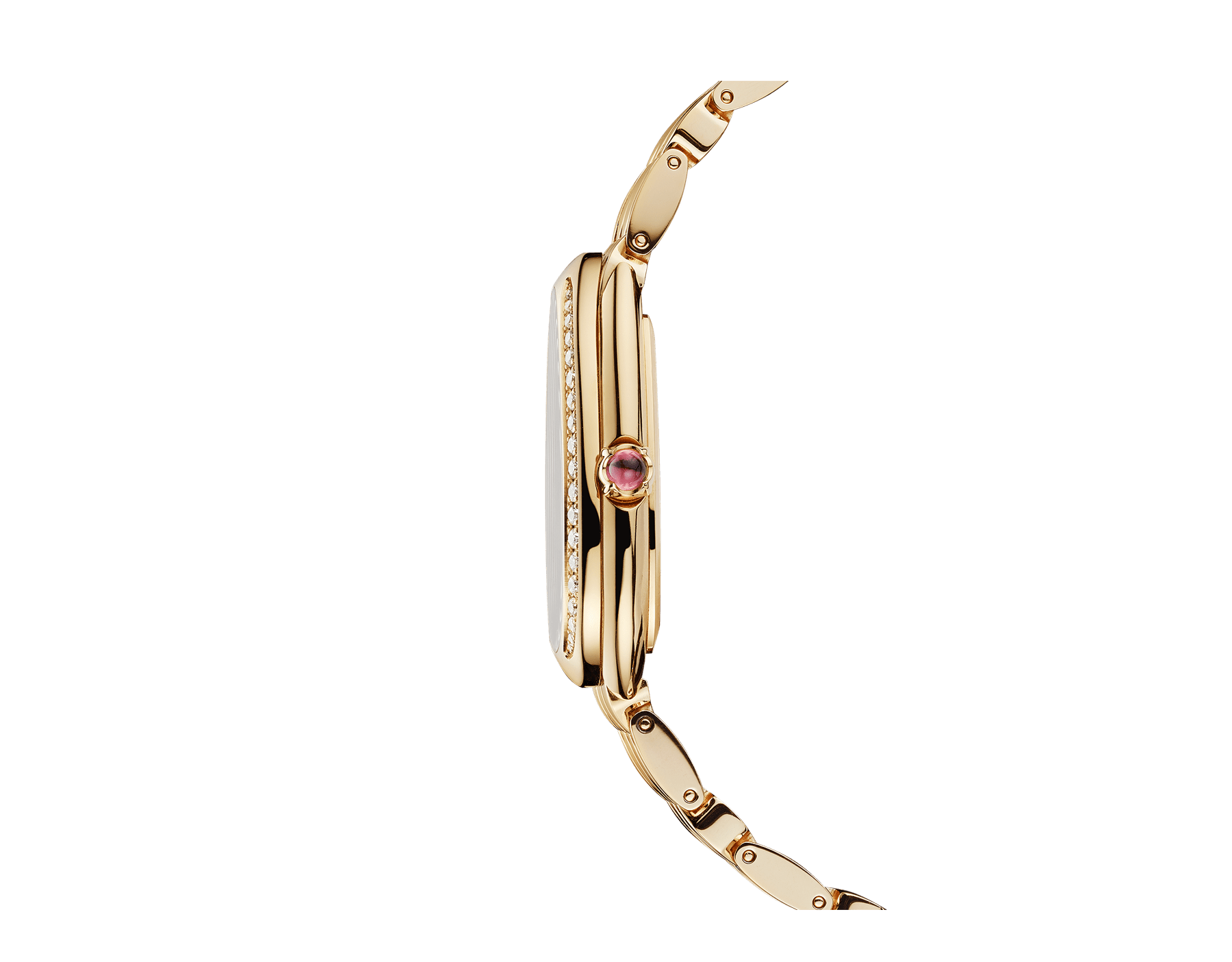 Serpenti Seduttori watch with 18 kt yellow gold case, 18 kt yellow gold bracelet, 18 kt yellow gold bezel set with diamonds and a white silver opaline dial. 103147 image 3