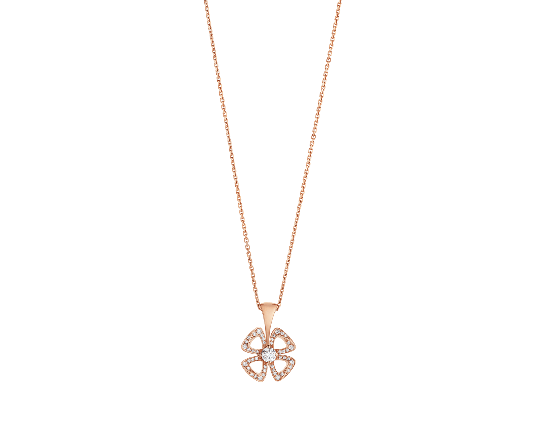 Fiorever 18 kt rose gold necklace set with a central brilliant-cut diamond (0.10 ct) and pavé diamonds (0.06 ct) 358156 image 1