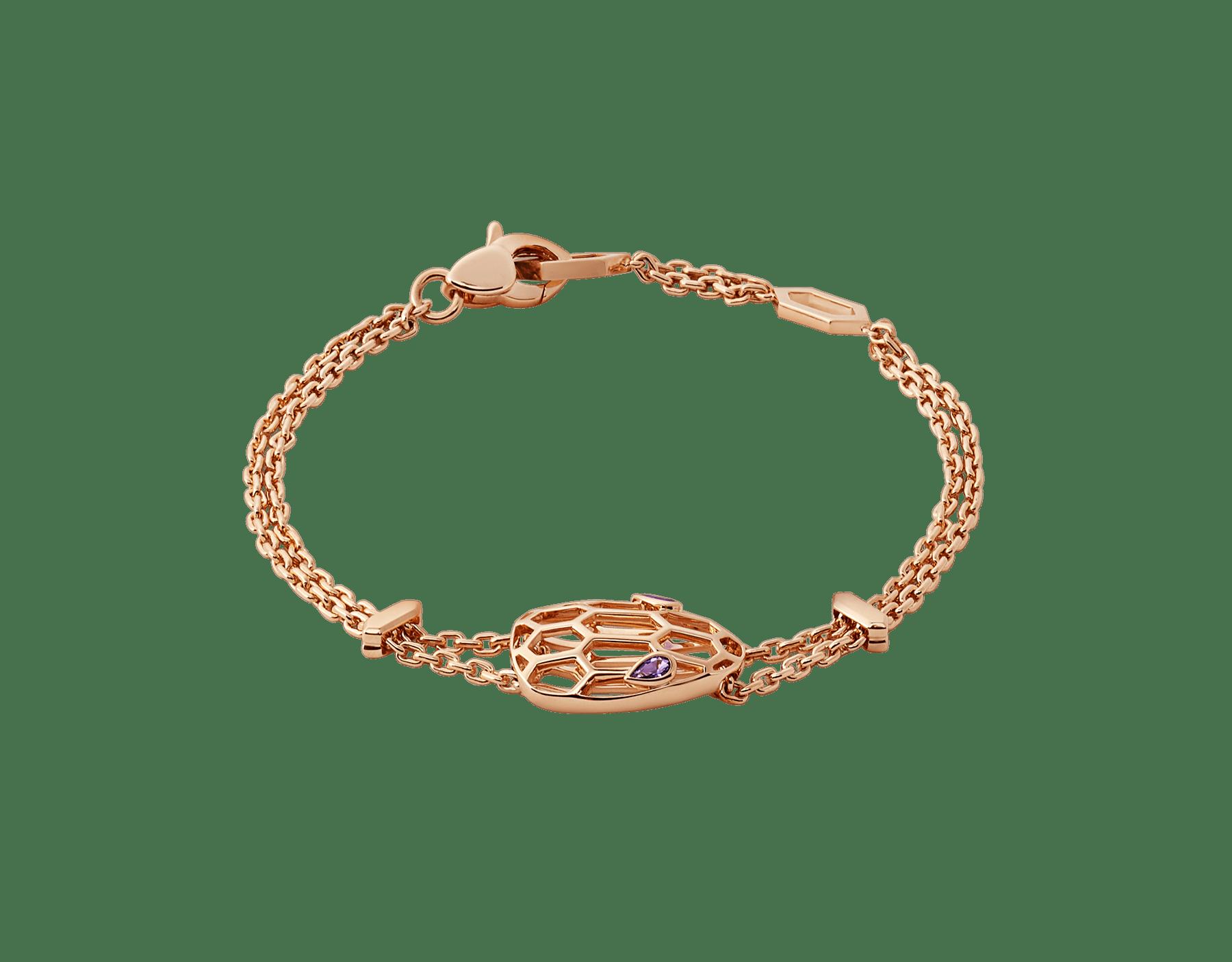 Serpenti soft bracelet in 18 kt rose gold, set with amethyst eyes. BR857739 image 1