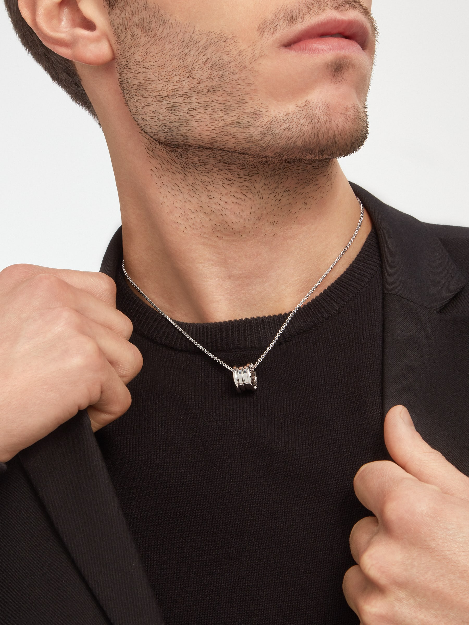 B.zero1 necklace with small round pendant, both in 18kt white gold. 352815 image 5