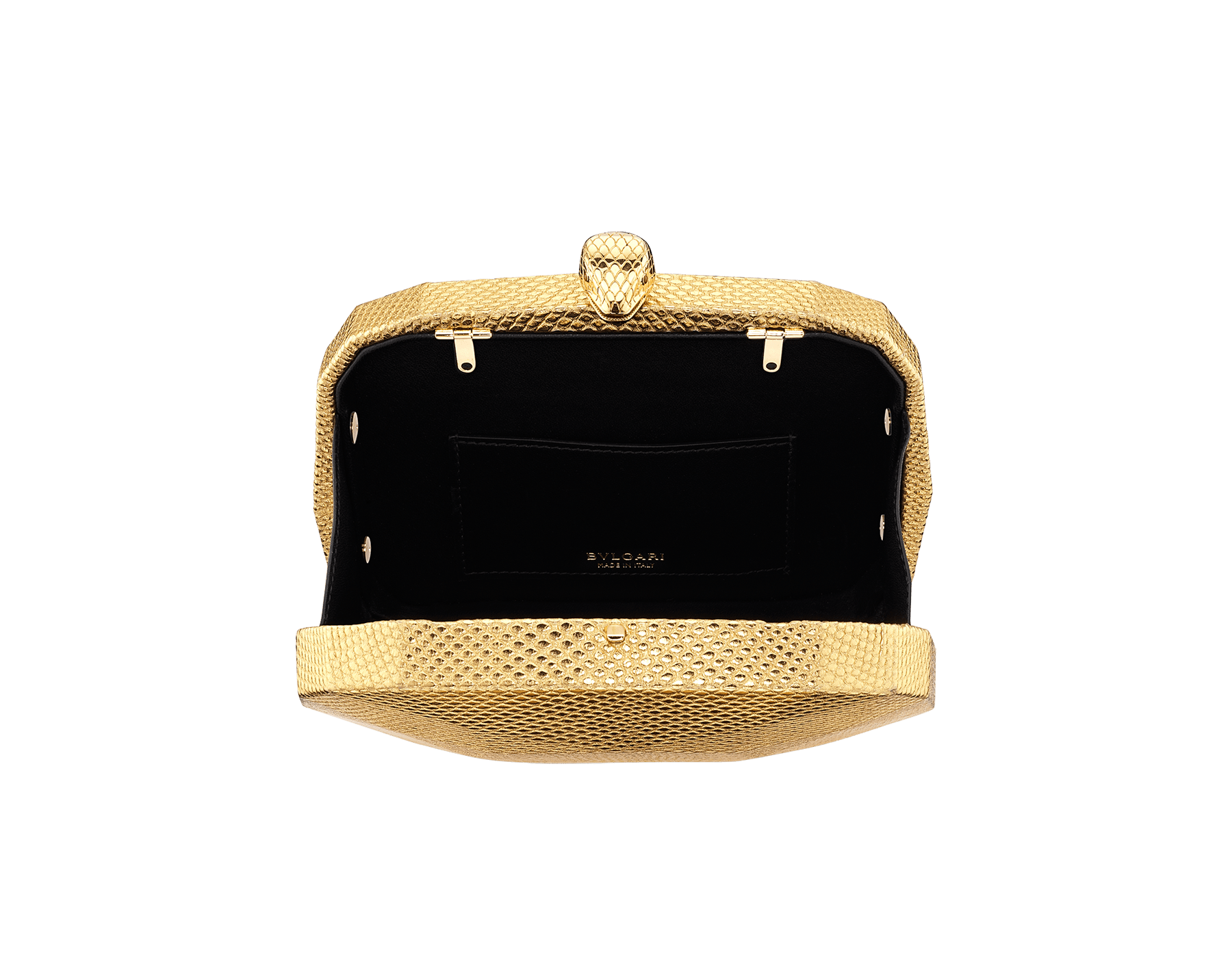 """""""BVLGARI Cocktail"""" hard clutch in """"Molten"""" gold karung skin with black nappa leather inner lining. New Serpenti head closure in gold-plated brass complete with ruby-red enamel eyes. 526-BRILLIANTCUT image 2"""