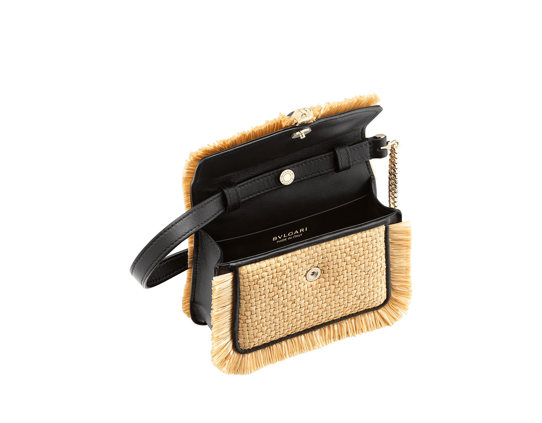 """Serpenti Forever"" mini bag in beige raffia and black calfskin frames enhanced with beige raffia fringes, and black nappa leather internal lining. Light gold-plated brass snakehead closure enhanced with full matte Natural beige enamel and black onyx eyes. 290968 image 2"