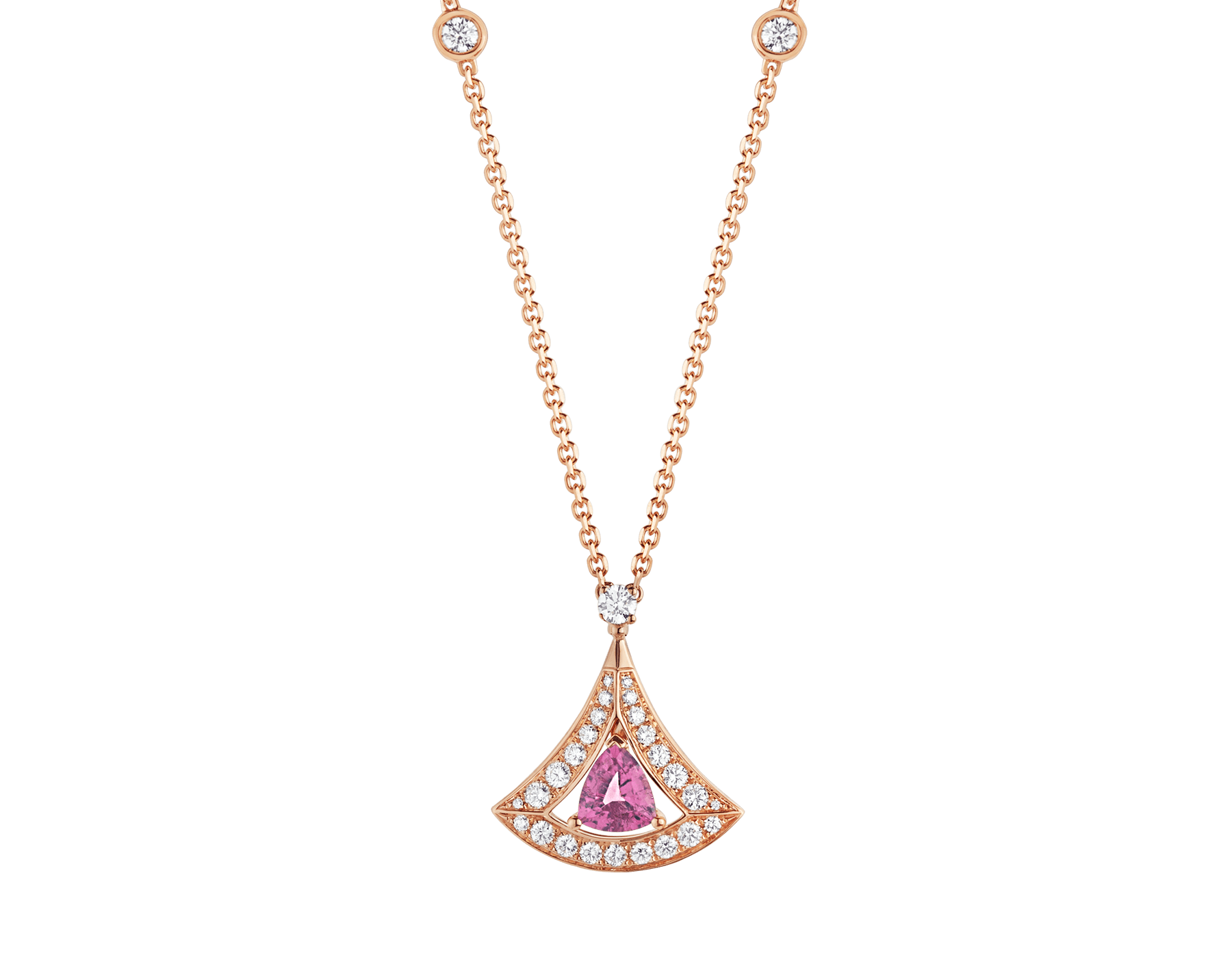 DIVAS' DREAM openwork necklace with 18 kt rose gold chain set with diamonds and 18 kt rose gold pendant with a pink tourmaline and set with pavé diamonds. 354366 image 1