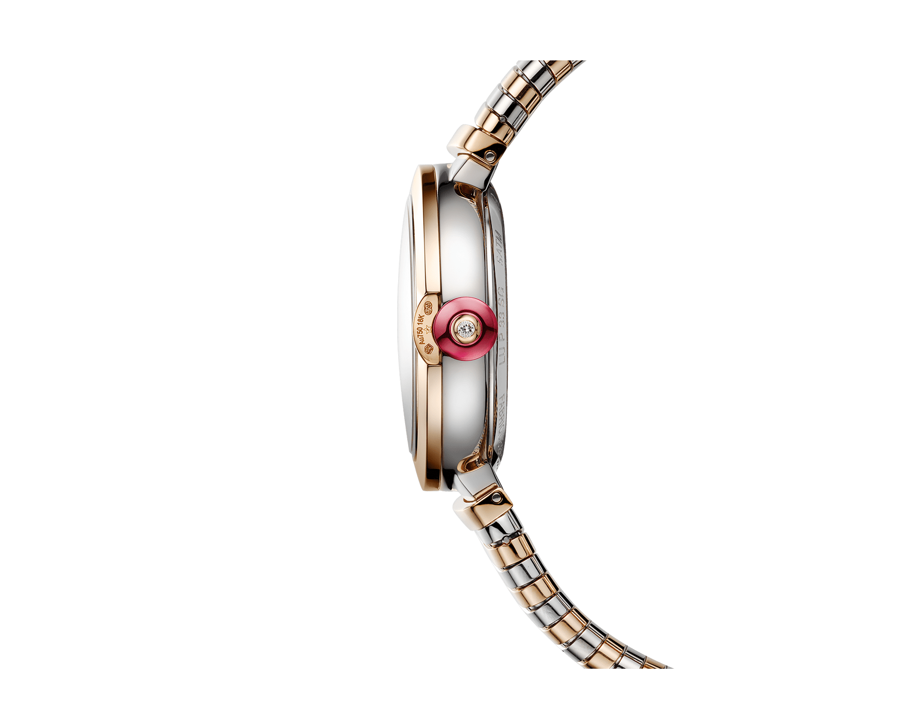 LVCEA watch with stainless steel case, 18 kt rose gold bezel, red lacquered dial, diamond indexes and tubogas bracelet in 18 kt rose gold and stainless steel 103123 image 3