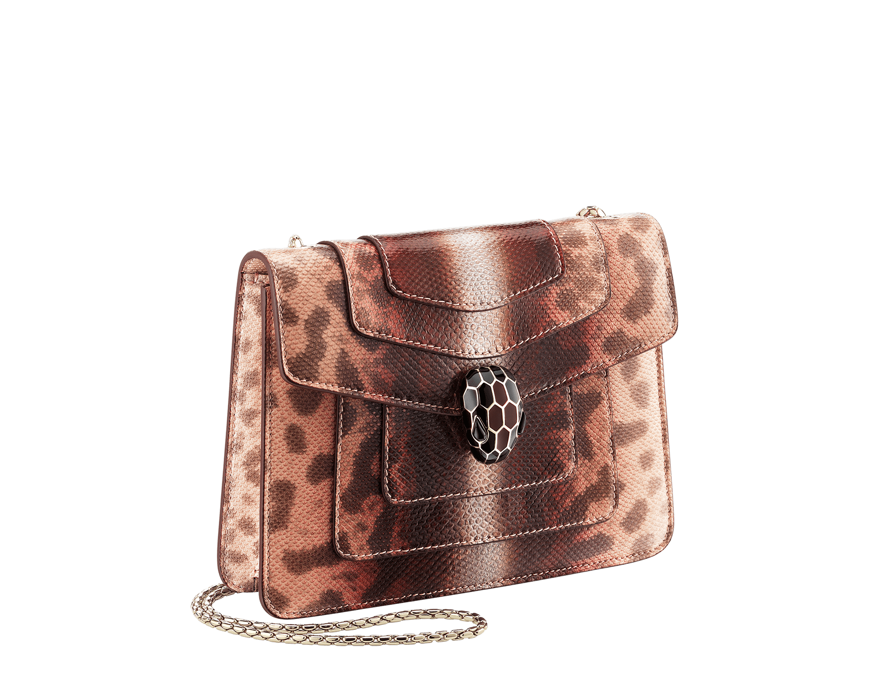 Serpenti Forever crossbody bag in rosa di francia Sahara karung skin. Iconic snakehead closure in light gold plated brass embellished with Roman garnet and black enamel and black onyx eyes. 289012 image 2