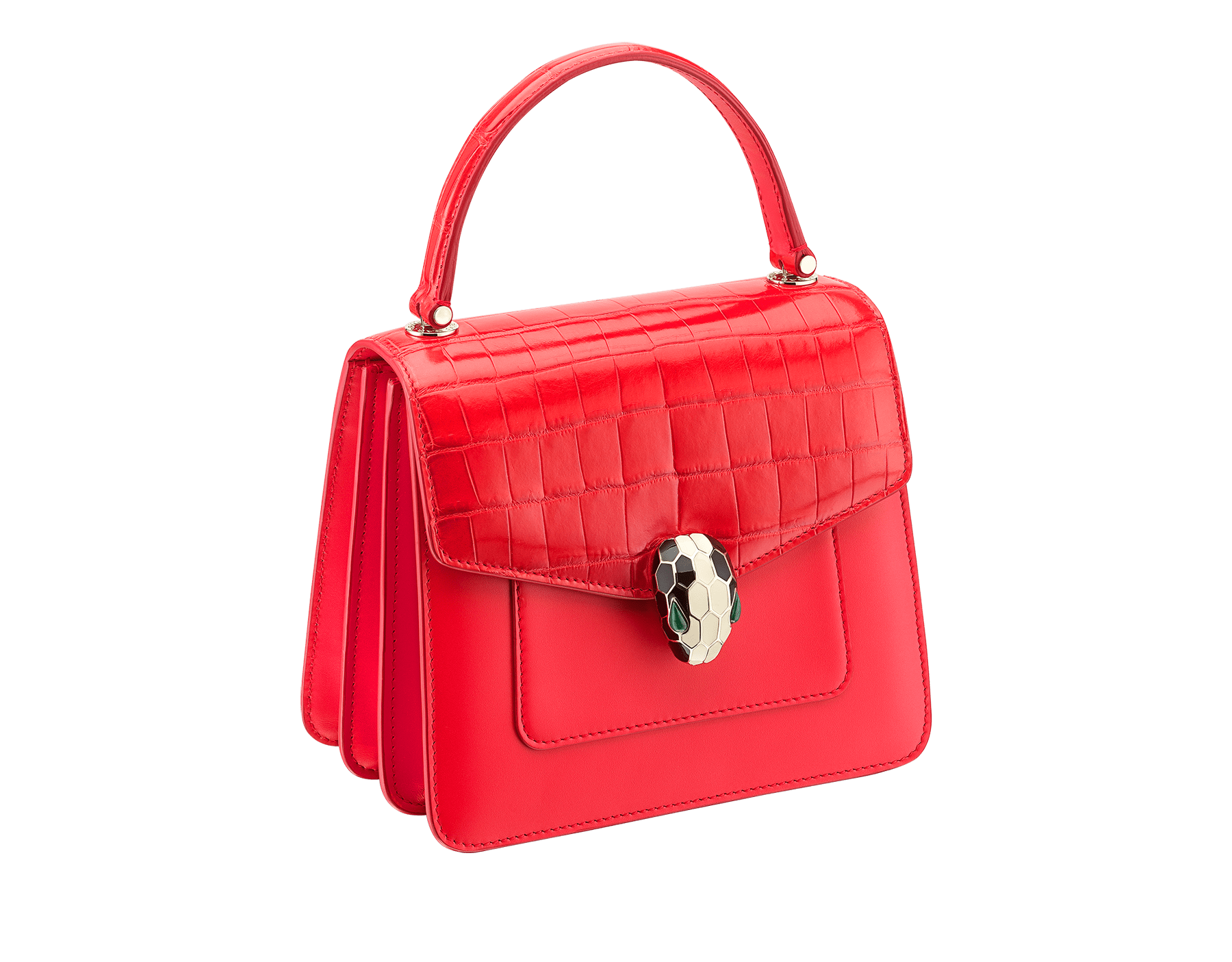 Serpenti Forever crossbody bag in sea star coral shiny croco skin and smooth calf leather. Snakehead closure in light gold plated brass decorated with black and white enamel, and green malachite eyes. 288491 image 2