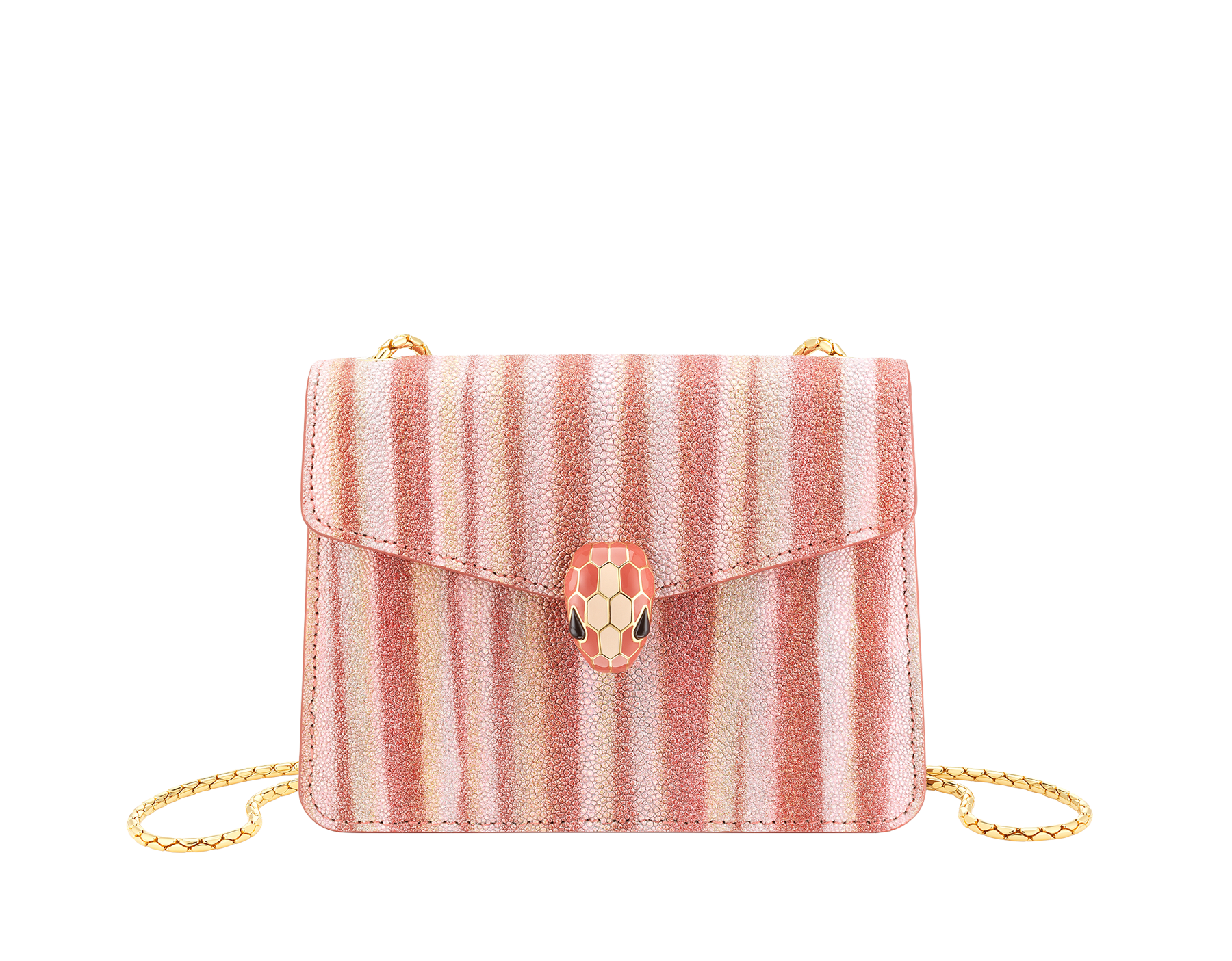 """Serpenti Forever"" crossbody bag in multicolor ""Ministriped"" galuchat skin body and peach calf leather sides, with peach nappa leather internal lining. Tempting snakehead closure in gold plated brass enriched with dark and matte peach enamel and black onyx eyes. 290557 image 1"