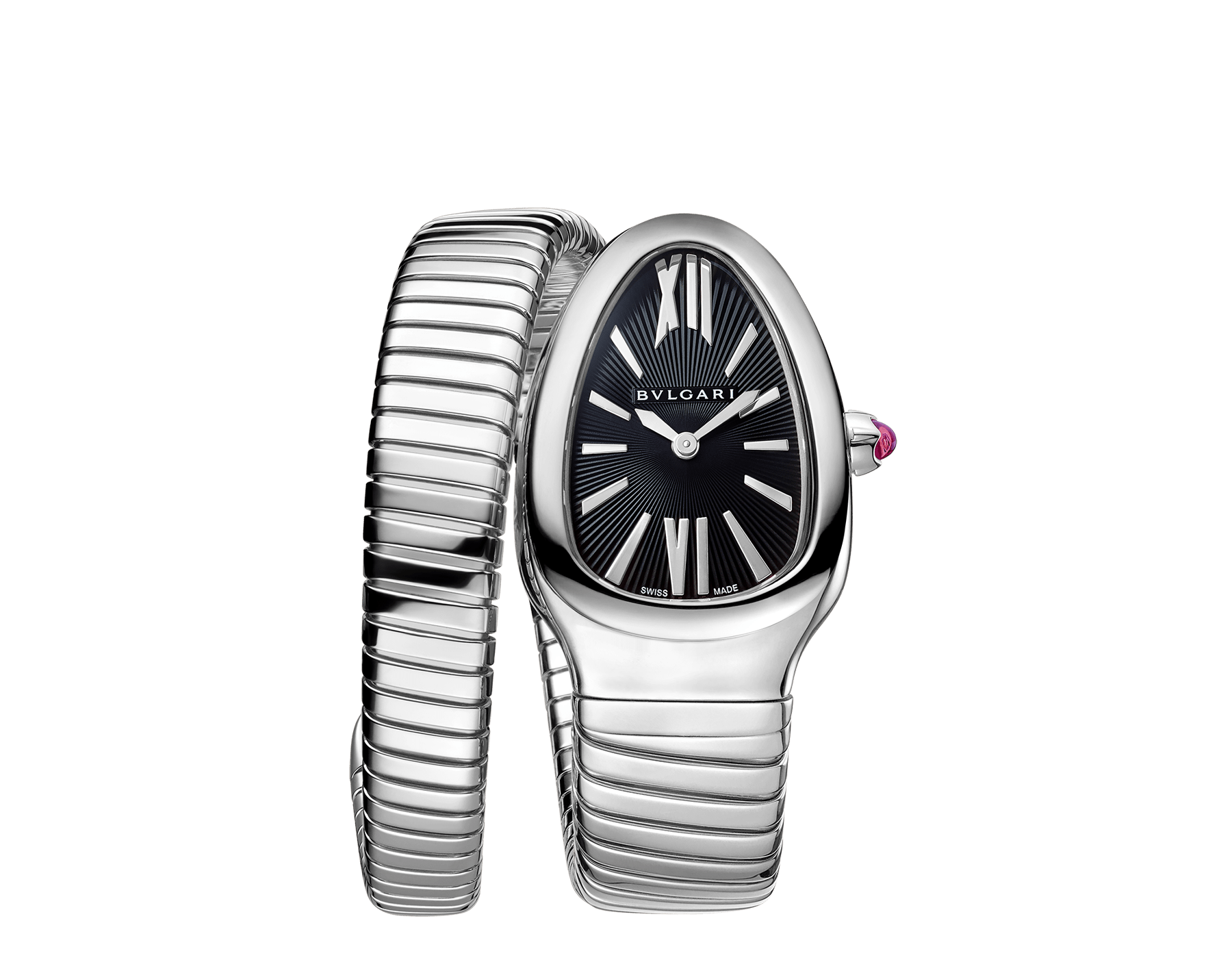 Serpenti Tubogas single spiral watch in stainless steel case and bracelet, with black opaline dial. SrpntTubogas-black-dial2 image 1