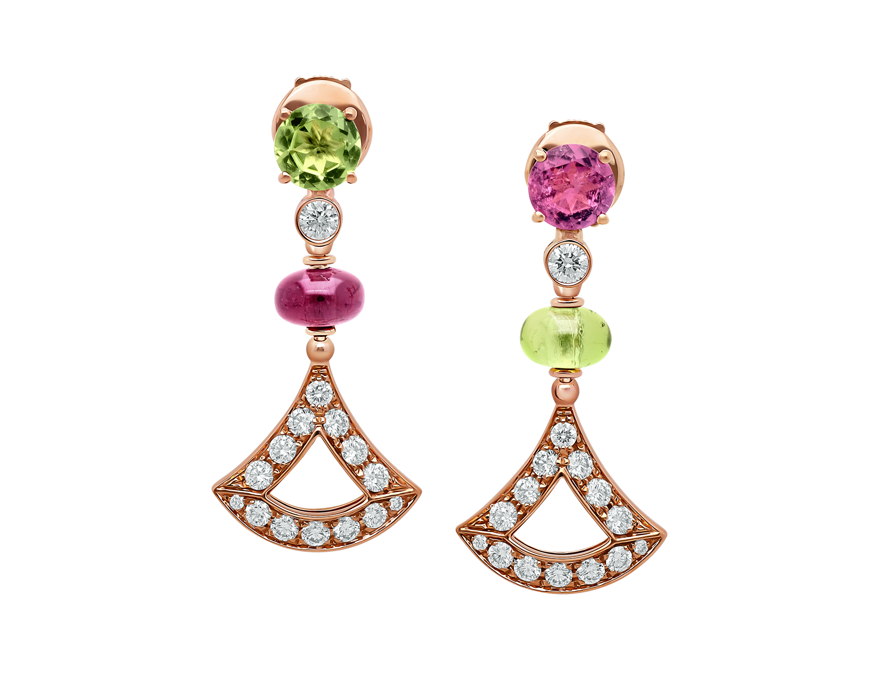 DIVAS' DREAM 18 kt rose gold earrings set with coloured gemstones and pavé diamonds 355616 image 1