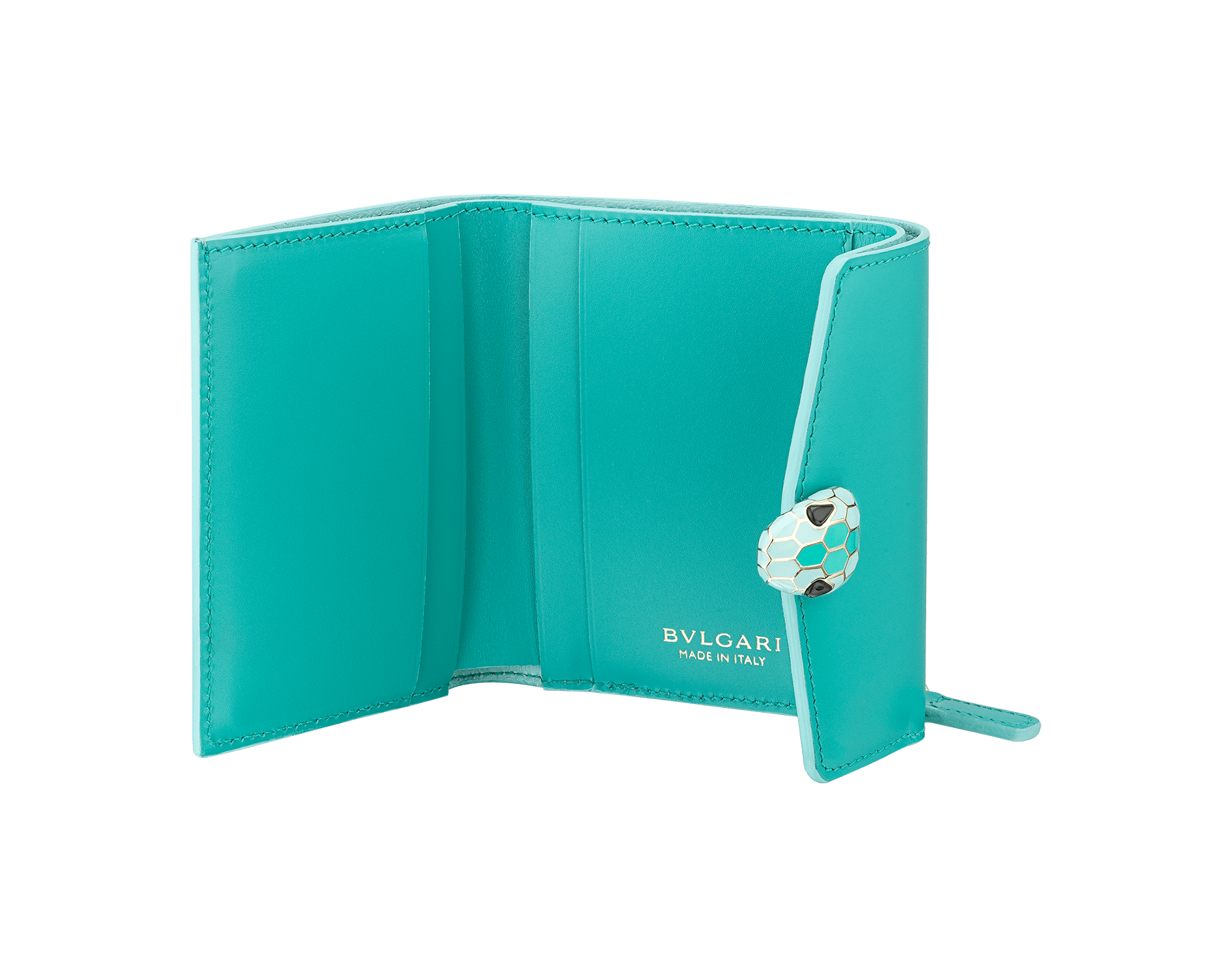 Serpenti Forever compact wallet in arctic jade calf leather and glacier turquoise goatskin. Iconic light gold plated brass snakehead stud closure in glacier turquoise and arctic jade enamel, with black onyx eyes. SEA-SLIMCOMPACT-CLb image 2