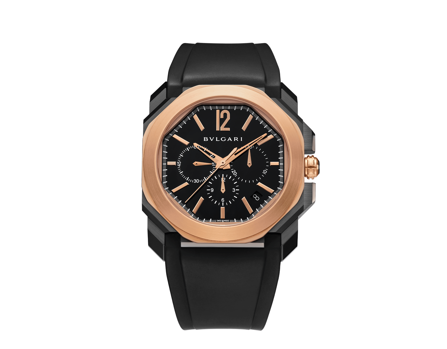 Octo watch with mechanical manufacture movement, high-frequency chronograph, automatic winding and date, stainless steel case treated with black Diamond Like Carbon, 18 kt rose gold bezel, black lacquered dial and black rubber bracelet. 102488 image 1