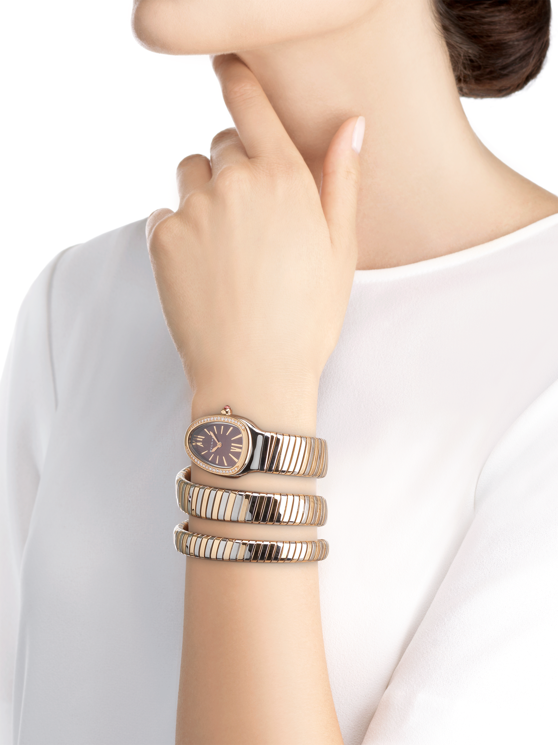 Serpenti Tubogas double spiral watch with stainless steel case, 18 kt rose gold bezel set with brilliant-cut diamonds, brown dial with guilloché soleil treatment, stainless steel and 18 kt rose gold bracelet 103070 image 4