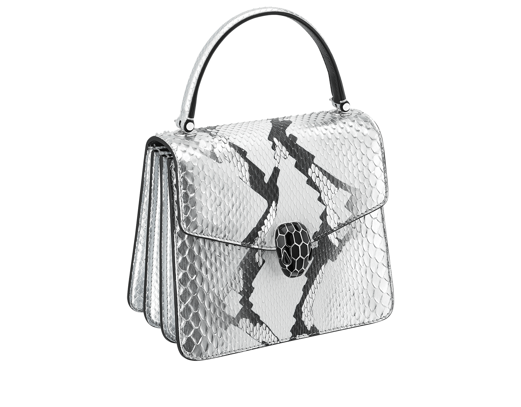 Serpenti Forever crossbody bag in black and white python skin with Whitethunder motif. Snakehead closure in shiny palladium plated brass decorated with black enamel, and black onyx eyes. 752-Pa image 2