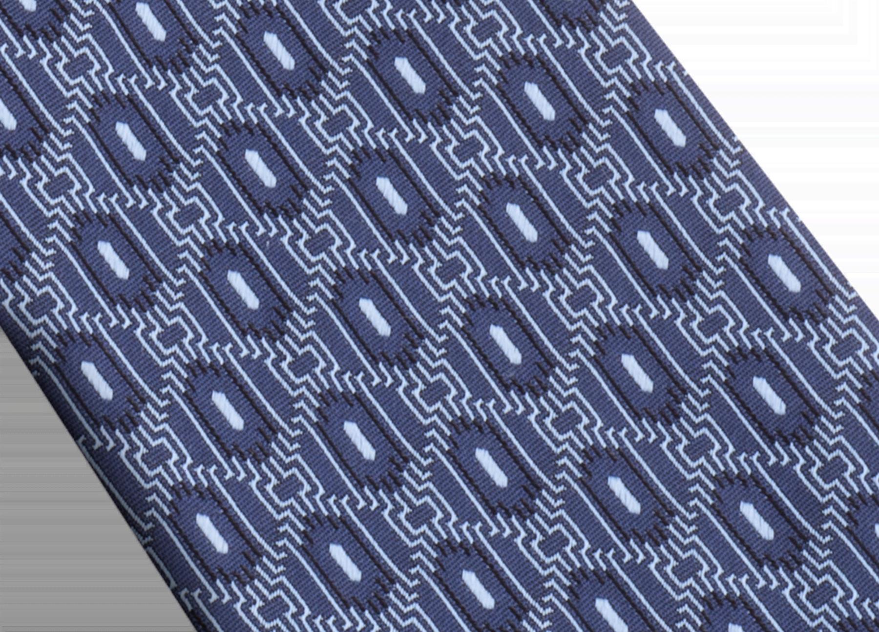 Галстук темно-синего цвета, тонкий шелк, узор Double Line Scales. Металлический ярлык с логотипом Bvlgari, маркировка Ручная работа. Сделано в Италии. 8 см 244132 image 2