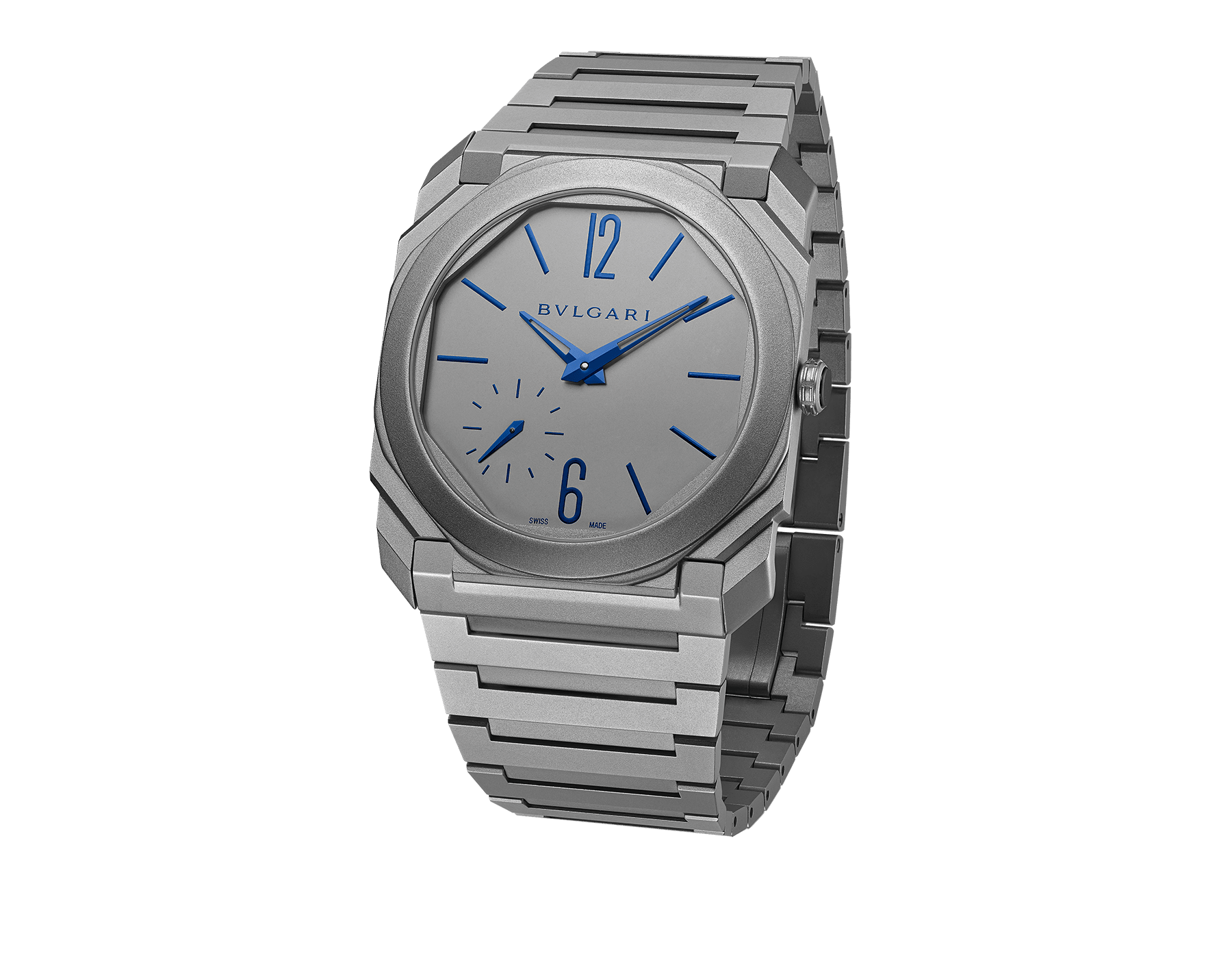 Octo Finissimo Automatic Limited Edition watch with extra-thin mechanical manufacture movement (2.23mm thick), automatic winding, platinum microrotor, small seconds, case, dial and bracelet in titanium and blue indexes and hands 102945 image 1