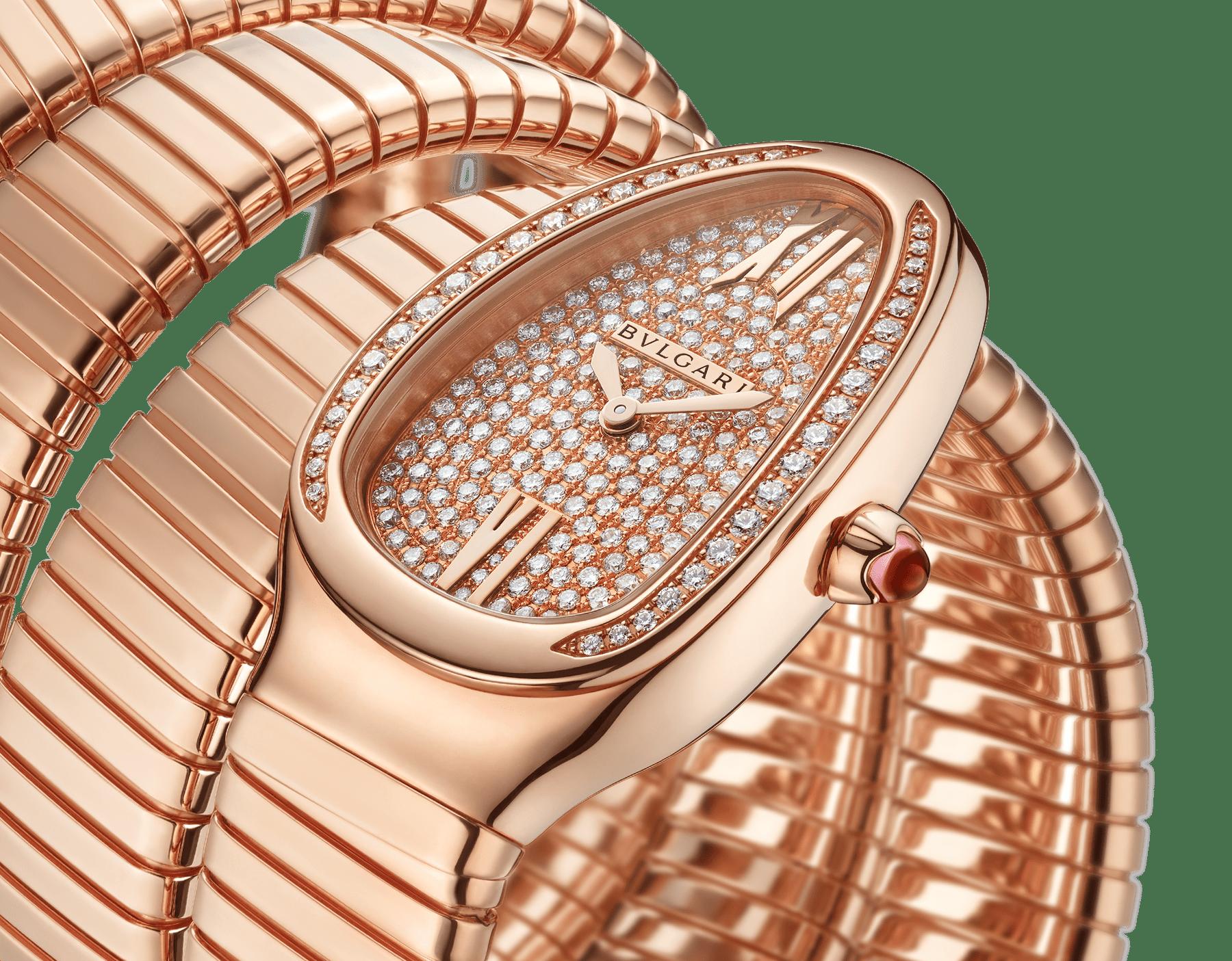 Serpenti Tubogas 七圈螺旋腕錶,18K 玫瑰金錶殼鑲飾明亮型切割鑽石,18K 玫瑰金錶盤鑲飾全密鑲明亮型切割鑽石,18K 玫瑰金錶帶。 101938 image 2