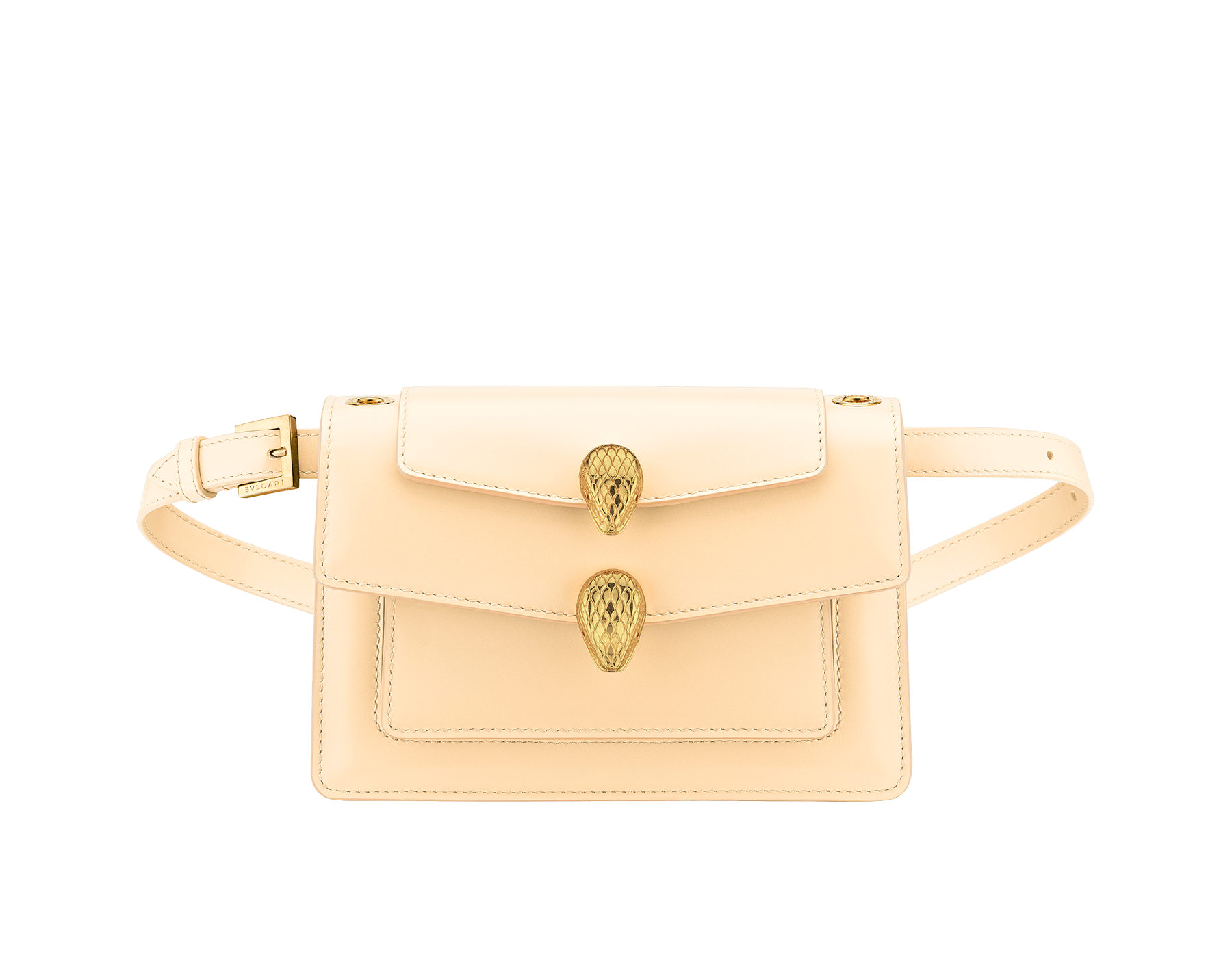 """Alexander Wang x Bvlgari"" belt bag in smooth peach calf leather. New double Serpenti head closure in antique gold plated brass with tempting red enamel eyes. Limited edition. 290308 image 4"