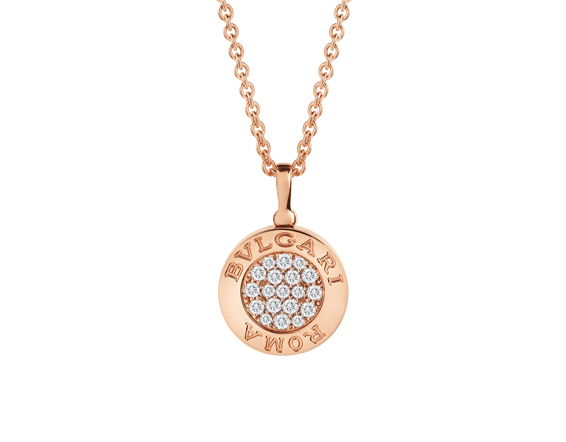 BVLGARI BVLGARI necklace with 18 kt rose gold chain and 18 kt rose gold pendant set with onyx and pavé diamonds 350815 image 1