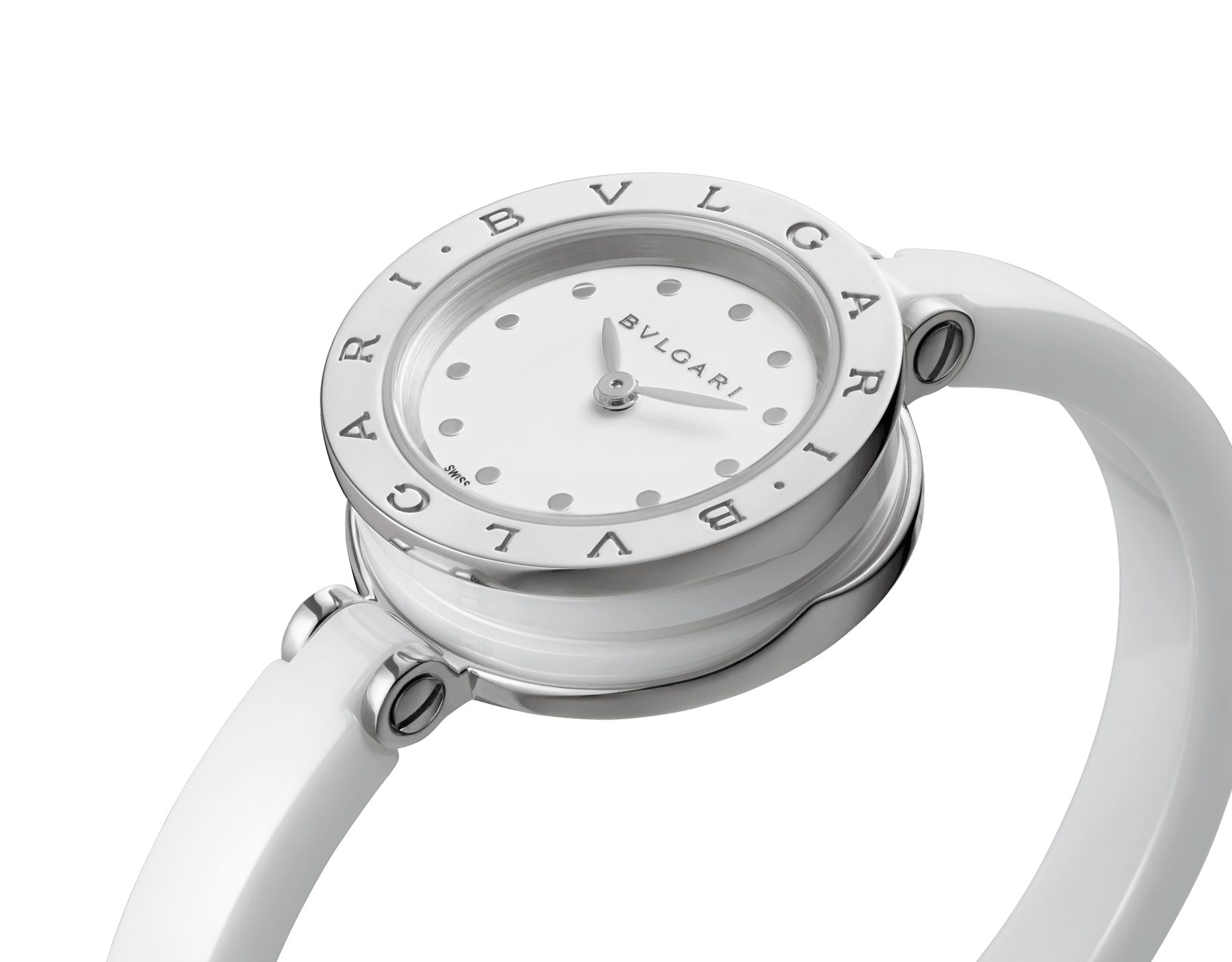 B.zero1 watch with stainless steel and white ceramic case, white lacquered dial and white ceramic bangle with stainless steel clasp. B01watch-white-white-dial image 2