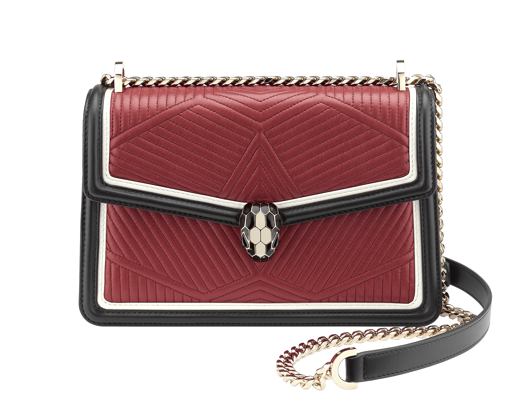 Shoulder bag Serpenti Forever featuring a Framed Quilted motif in roman garnet nappa and black smooth calf leather. Brass light gold plated tempting snake head closure in black and white enamel, with eyes in black onyx. 286628 image 1