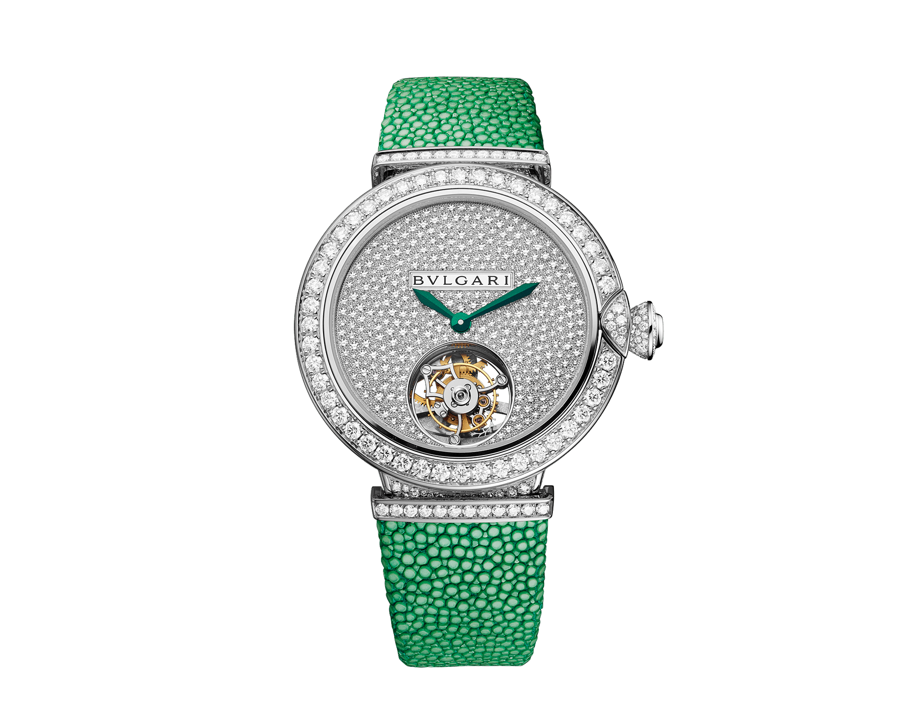Montre LVCEA Tourbillon en édition limitée avec mouvement mécanique de manufacture, remontage automatique, tourbillon transparent, boîtier en or blanc 18 K serti de diamants ronds taille brillant, cadran pavé diamants avec diamants ronds taille brillant et finition verte, bracelet en galuchat vert 103039 image 1