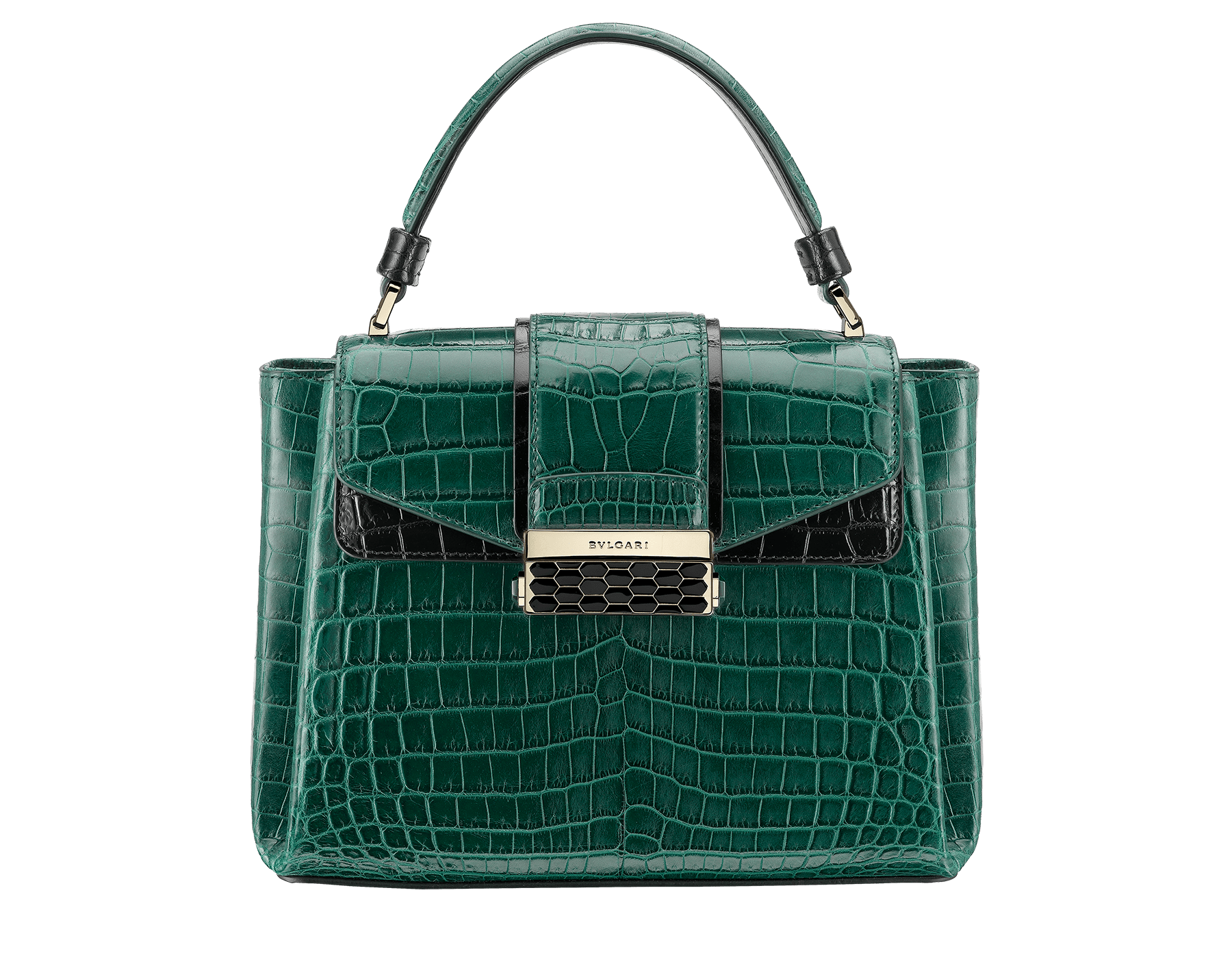 Top handle bag Serpenti Viper in forest emerald and black shiny croco skin, with black nappa internal lining. Brass light gold plated hardware and snap closure in black shiny enamel with iconic Scaglie design and lateral push buttons in green malachite stones. 286839 image 1