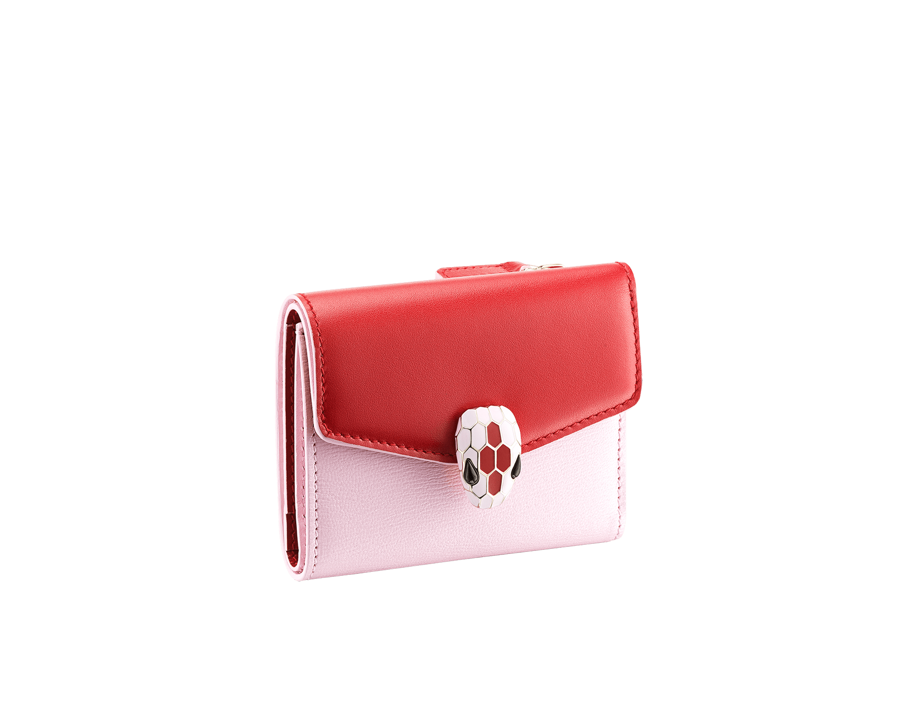 Serpenti Forever slim compact wallet in ruby red calf leather and rosa di francia goatskin. Iconic snakehead stud closure in rosa di francia and ruby red enamel, with black onyx eyes. 289203 image 1