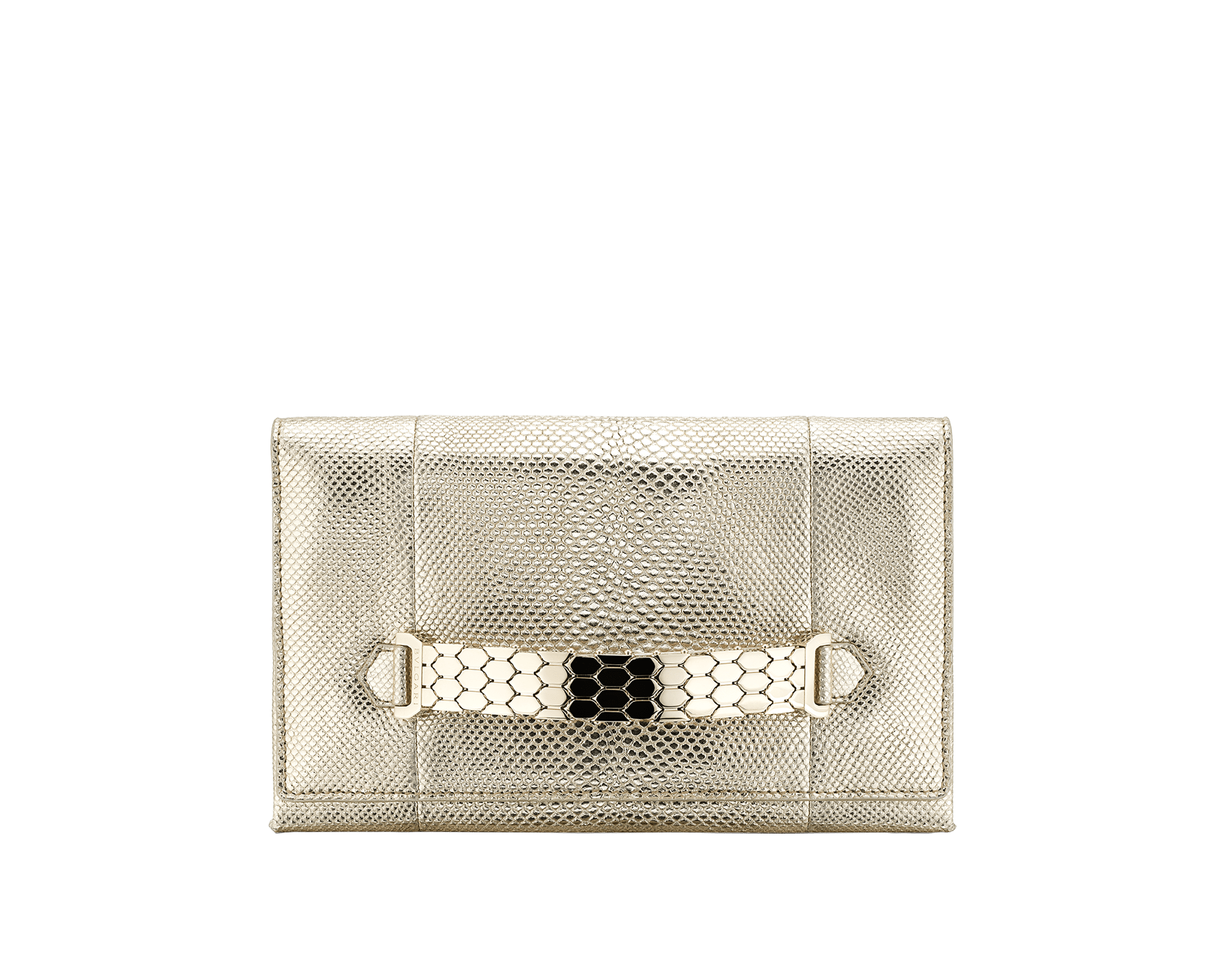 """Serpenti Evening"" clutch with handle in ""Molten"" light gold karung skin with black nappa leather inner lining. Light gold Serpenti Seduttori handle. 290654 image 1"