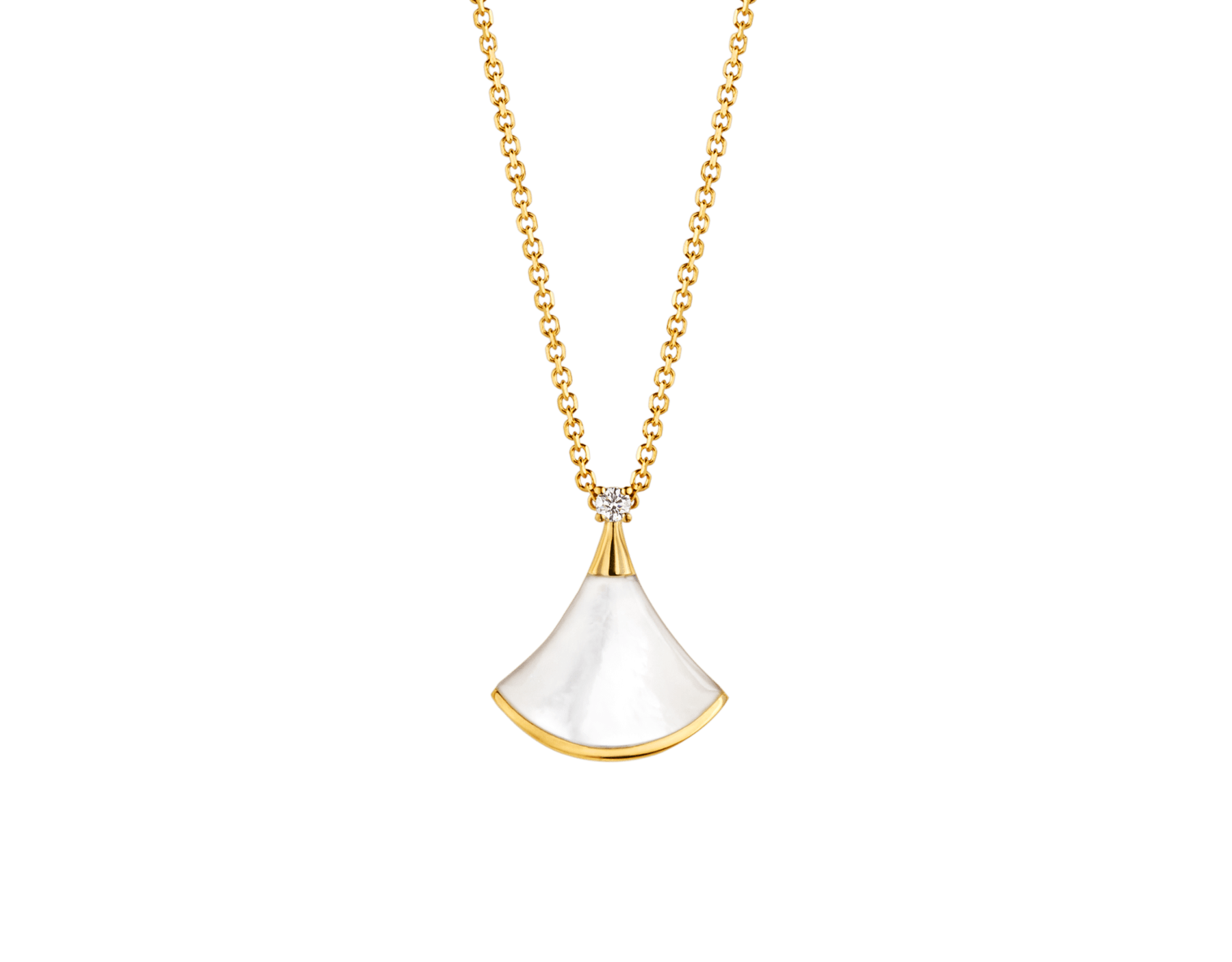DIVAS' DREAM 18 kt yellow gold necklace with pendant set with one diamond and mother-of-pearl element 357510 image 1