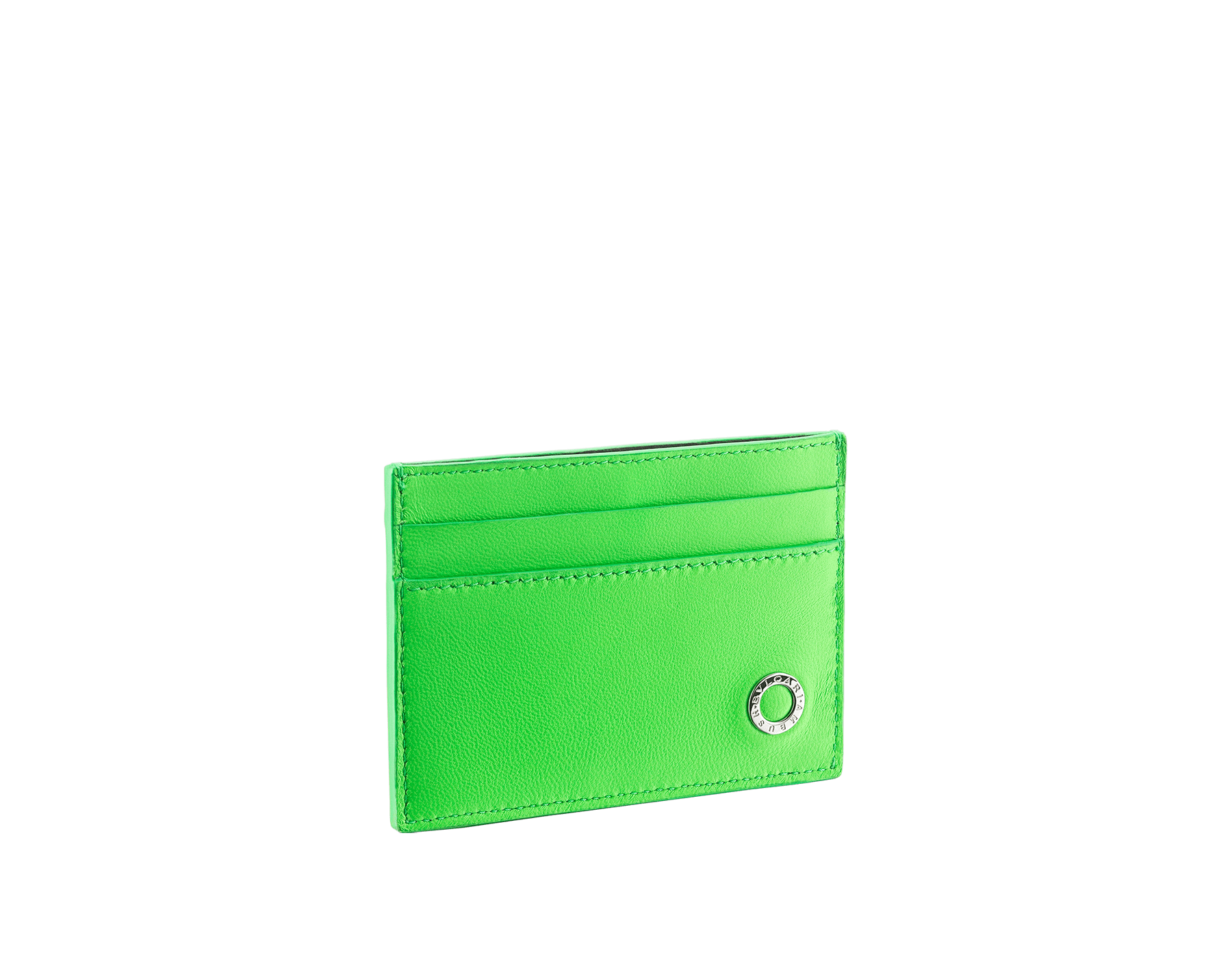 """Ambush x Bvlgari"" card holder in bright green nappa leather. Palladium plated brass ""BVLGARI AMBUSH"" décor on one side and special ""BVLGARI AMBUSH"" logo print on the other. Limited edition. YA-CCHOLDER image 1"