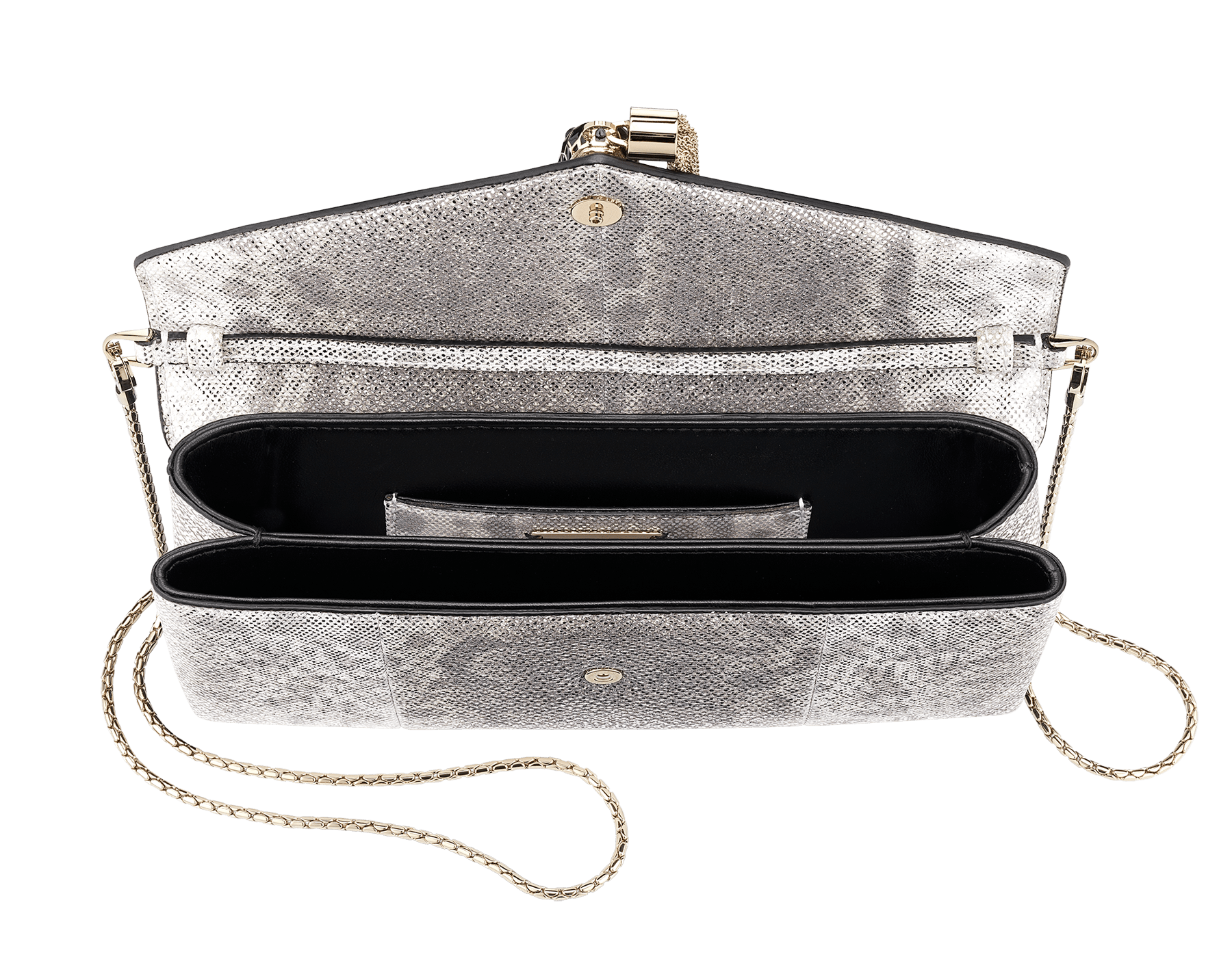 """Serpenti"" evening clutch bag in white agate metallic karung skin. Iconic snakehead stud closure with tassel in light gold plated brass enriched with shiny black and white agate enamel and black onyx eyes. 289004 image 4"