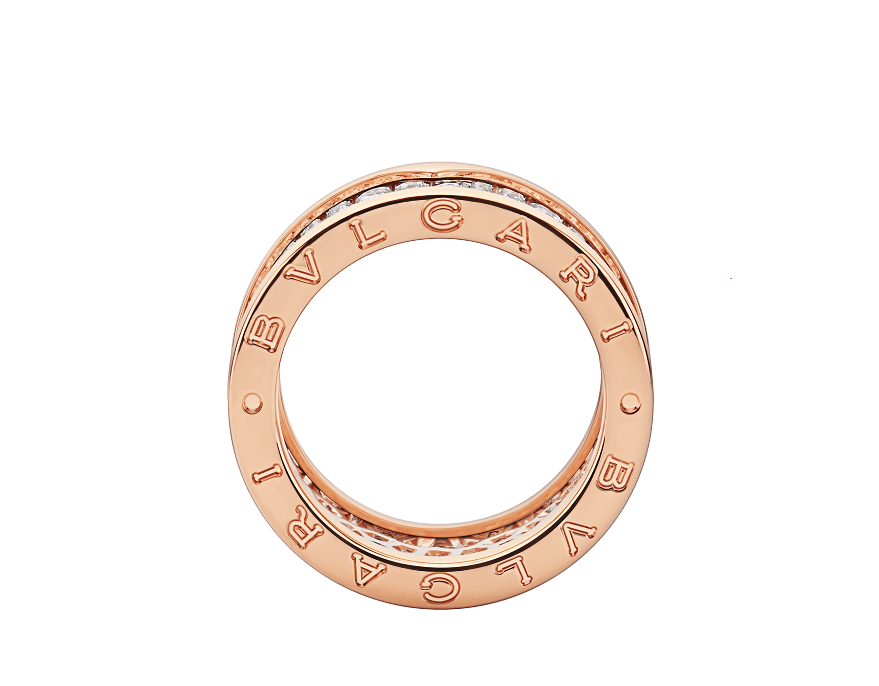 B.zero1 ring in 18 kt rose gold, set with pavé diamonds on the spiral. AN855553 image 2