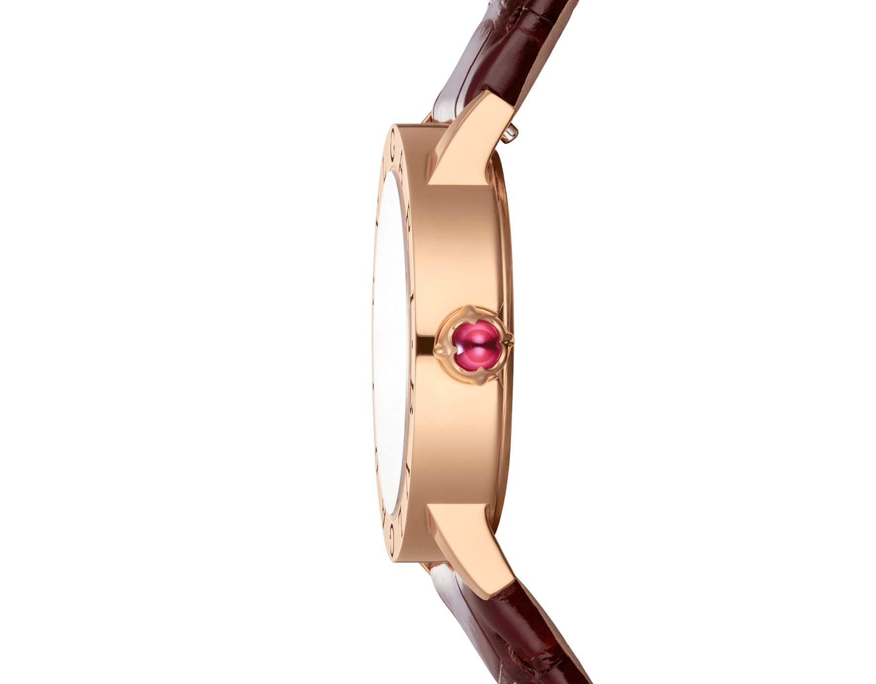 BVLGARI BVLGARI watch with 18 kt rose gold case, white mother-of-pearl dial, diamond indexes and shiny brown alligator bracelet 102751 image 3