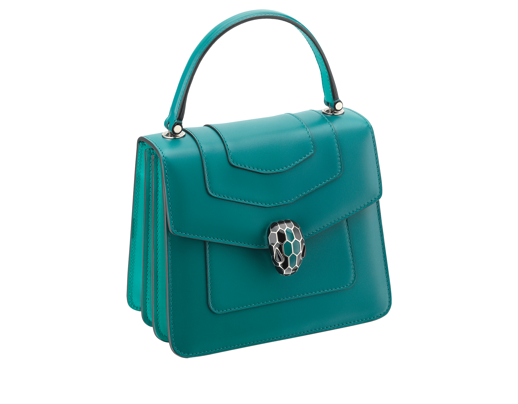 """Serpenti Forever "" crossbody bag in deep jade calf leather body and tropical tourquoise calf leather sides. Iconic snakehead closure in light gold plated brass enriched with deep jade and black enamel and black onyx eyes. 287962 image 2"
