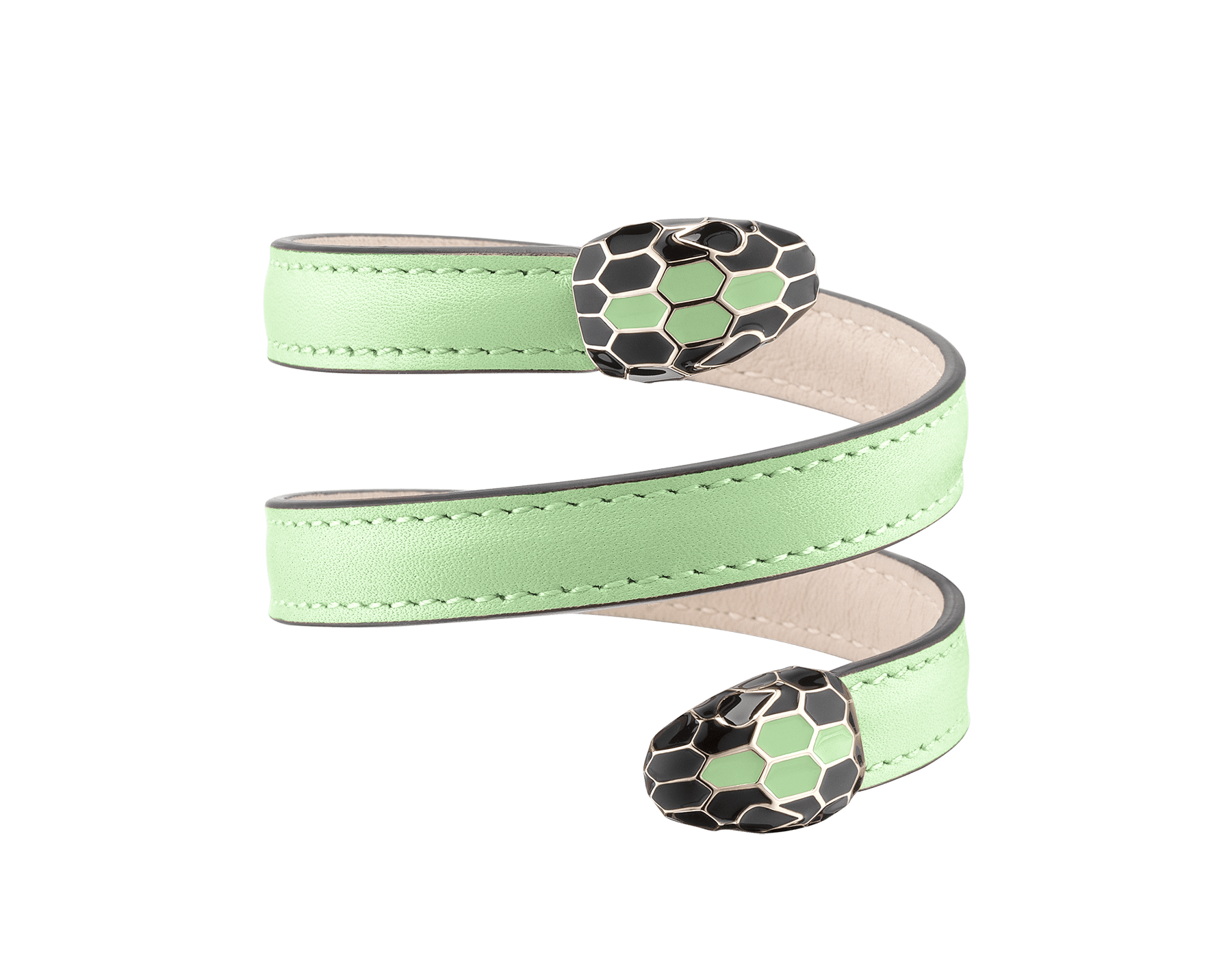 """Serpenti Forever"" multi-coiled rigid Cleopatra bracelet in mint calf leather, with brass light gold plated hardware. Iconic double snakehead décor enamelled in black and mint, finished with seductive eyes in black enamel. Cleopatra-CL-M image 1"