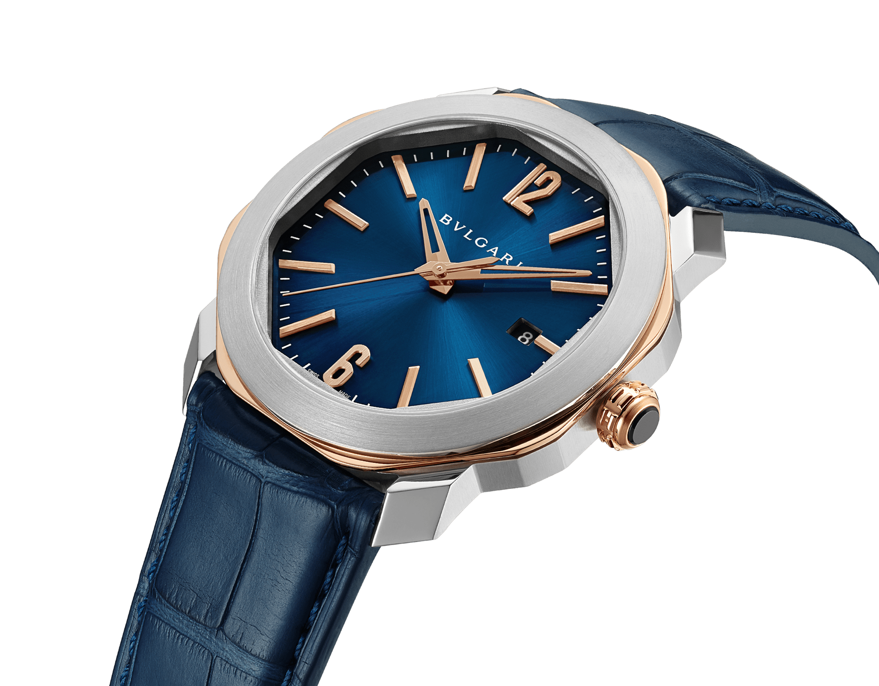 Octo Roma watch with mechanical manufacture movement, automatic winding, stainless steel and 18 kt rose gold case, blue dial and blue alligator bracelet. Water resistant up to 50 metres 103205 image 2