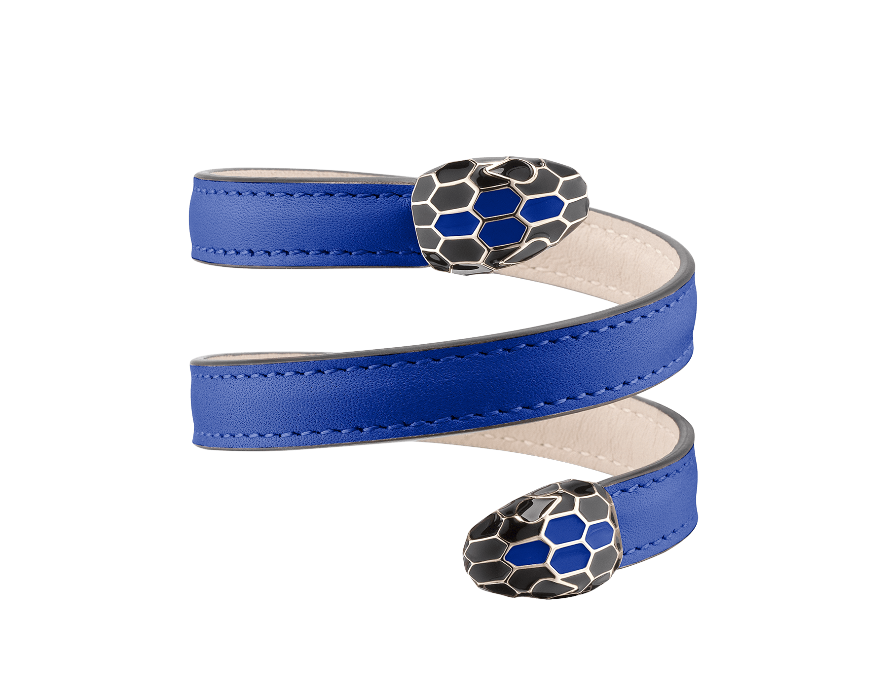 Serpenti Forever multi-coiled rigid Cleopatra bracelet in cobalt tourmaline calf leather, with brass light gold plated hardware. Iconic double snakehead décor in black and cobalt tourmaline enamel, with black enamel eyes Cleopatra-CL-CT image 1