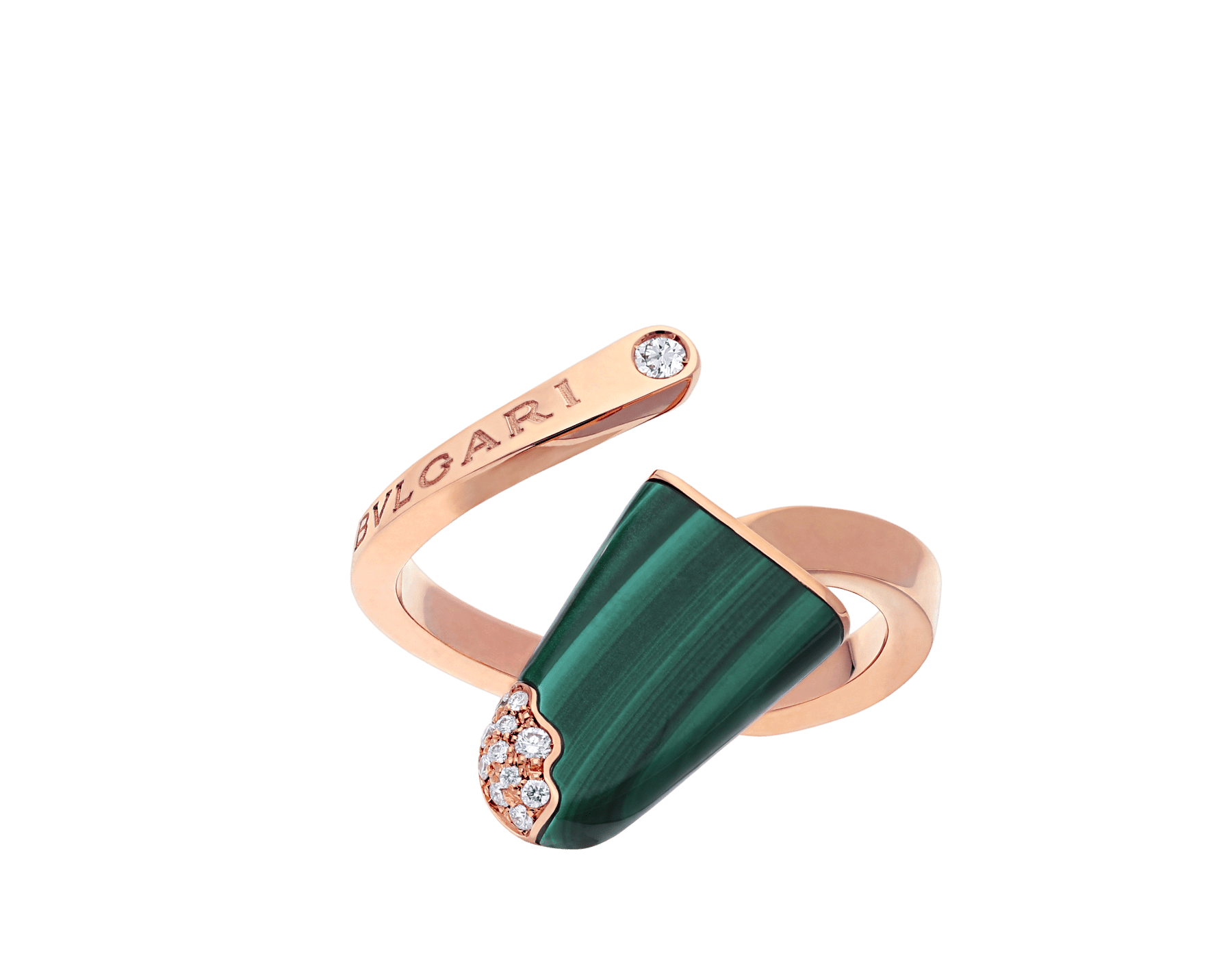 BVLGARI BVLGARI Gelati 18 kt rose gold ring set with malachite and pavé diamonds AN858329 image 1