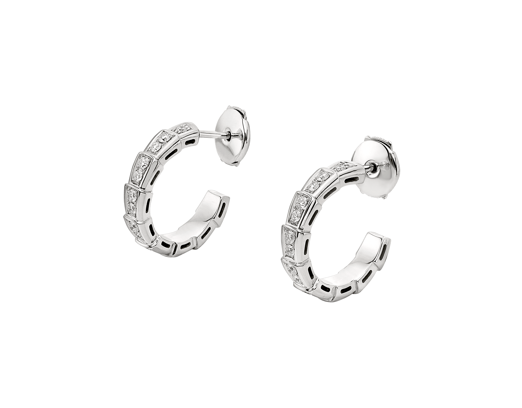 Serpenti Viper 18 kt white gold earrings set with pavé diamonds. 356172 image 2